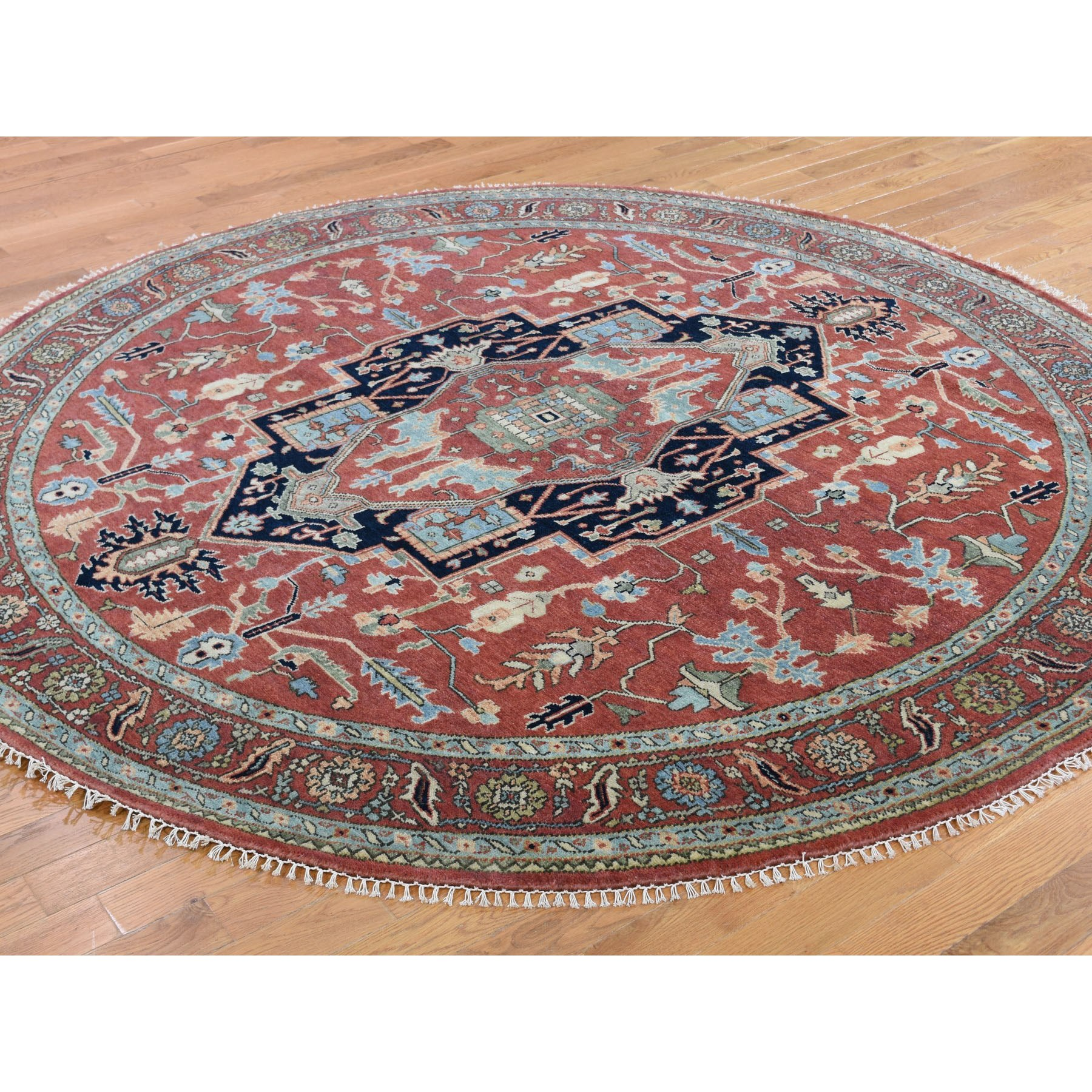 """7'8""""x7'8"""" Round Red Heriz Revival Pure Wool Hand Knotted Oriental Rug"""