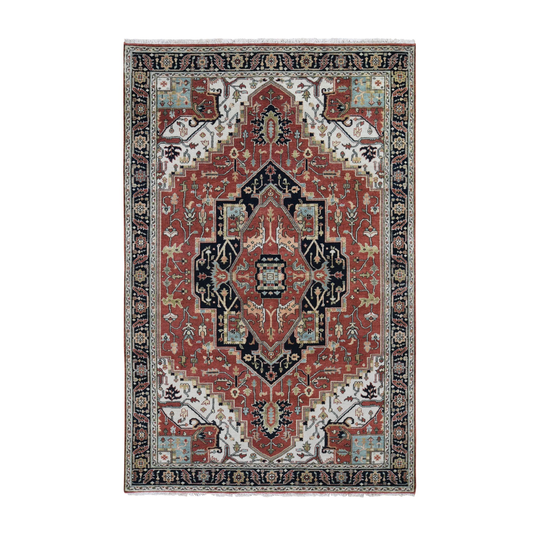 """6'x8'10"""" Red Heriz Revival Pure Wool Hand Knotted Oriental Rug 47963"""