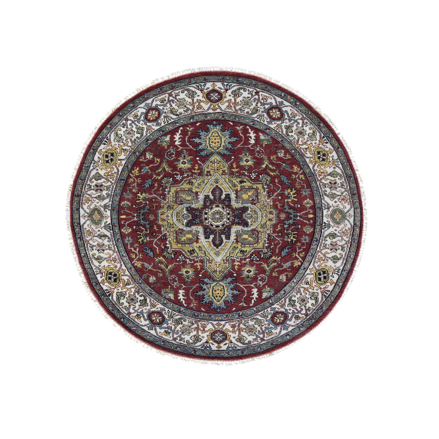 6'x6' Round Red Heriz Revival Pure Wool Hand Knotted Oriental Rug