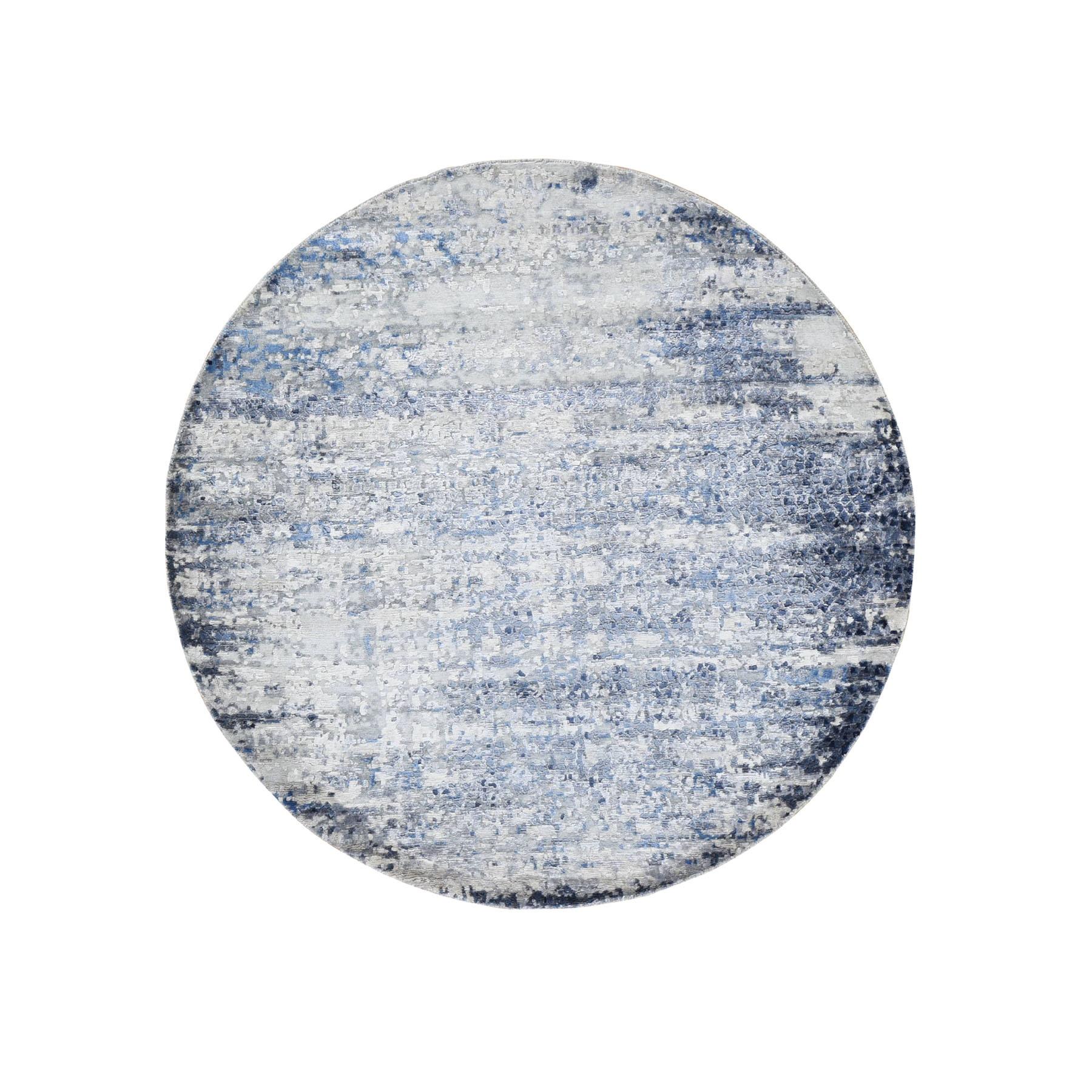 6'x6' Round Broken Mosaic Design Wool And Silk Hand Knotted Oriental Rug