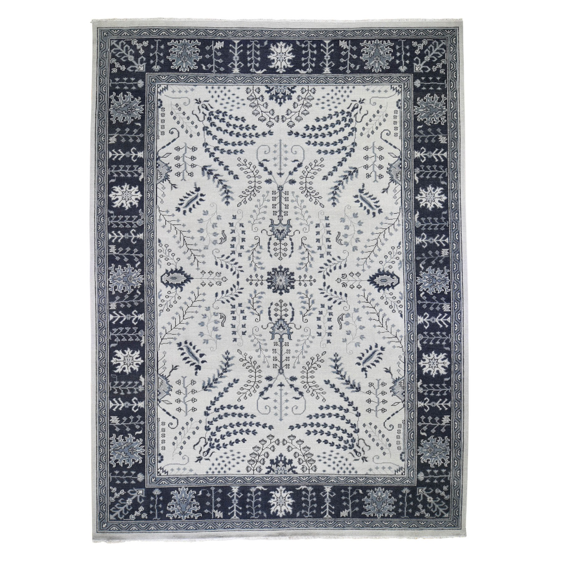 10'X14' Gray Turkish Knot Oushak Pure Wool Hand Knotted Oriental Rug moad7970
