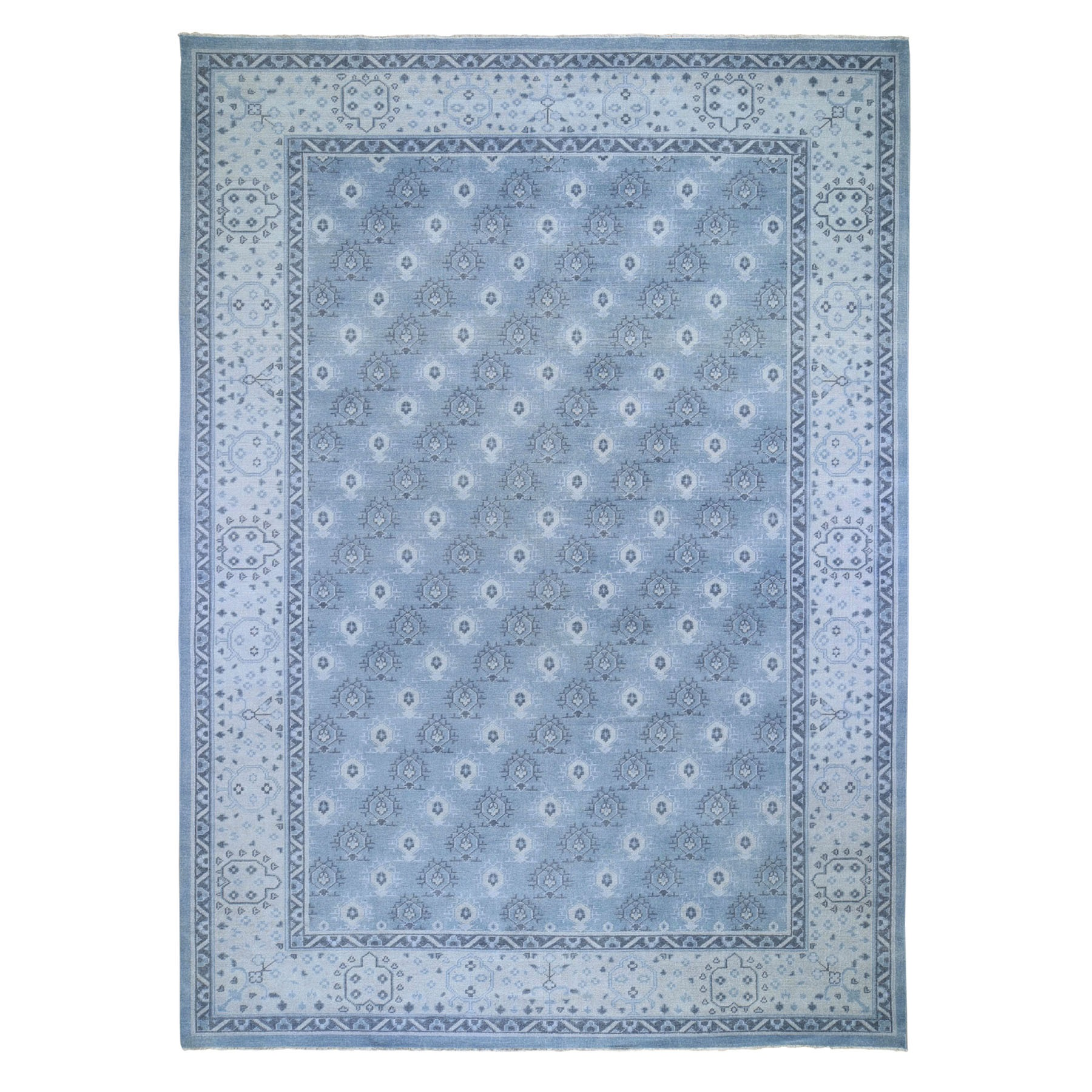 """10'x13'9"""" Turkish Knot Oushak Cropped Thin Hand Knotted Oriental Rug 47971"""