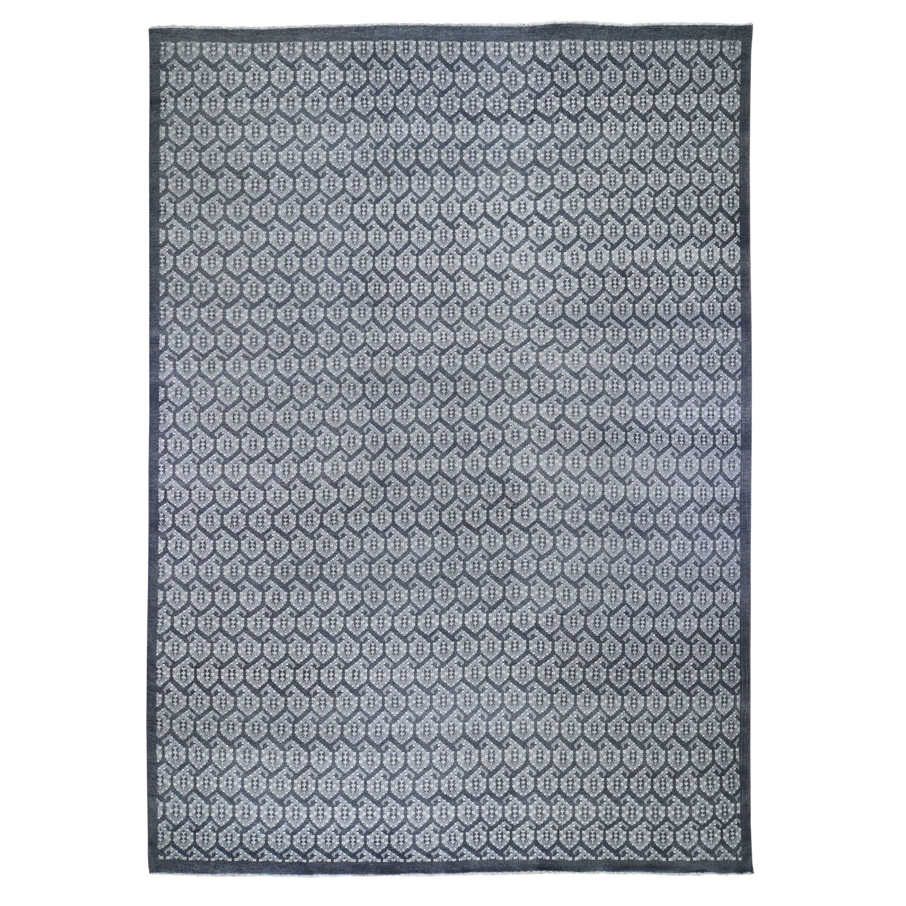"""10'X13'10"""" Grey Turkish Knot Paisley Design Hand Knotted Oriental Rug moad797c"""
