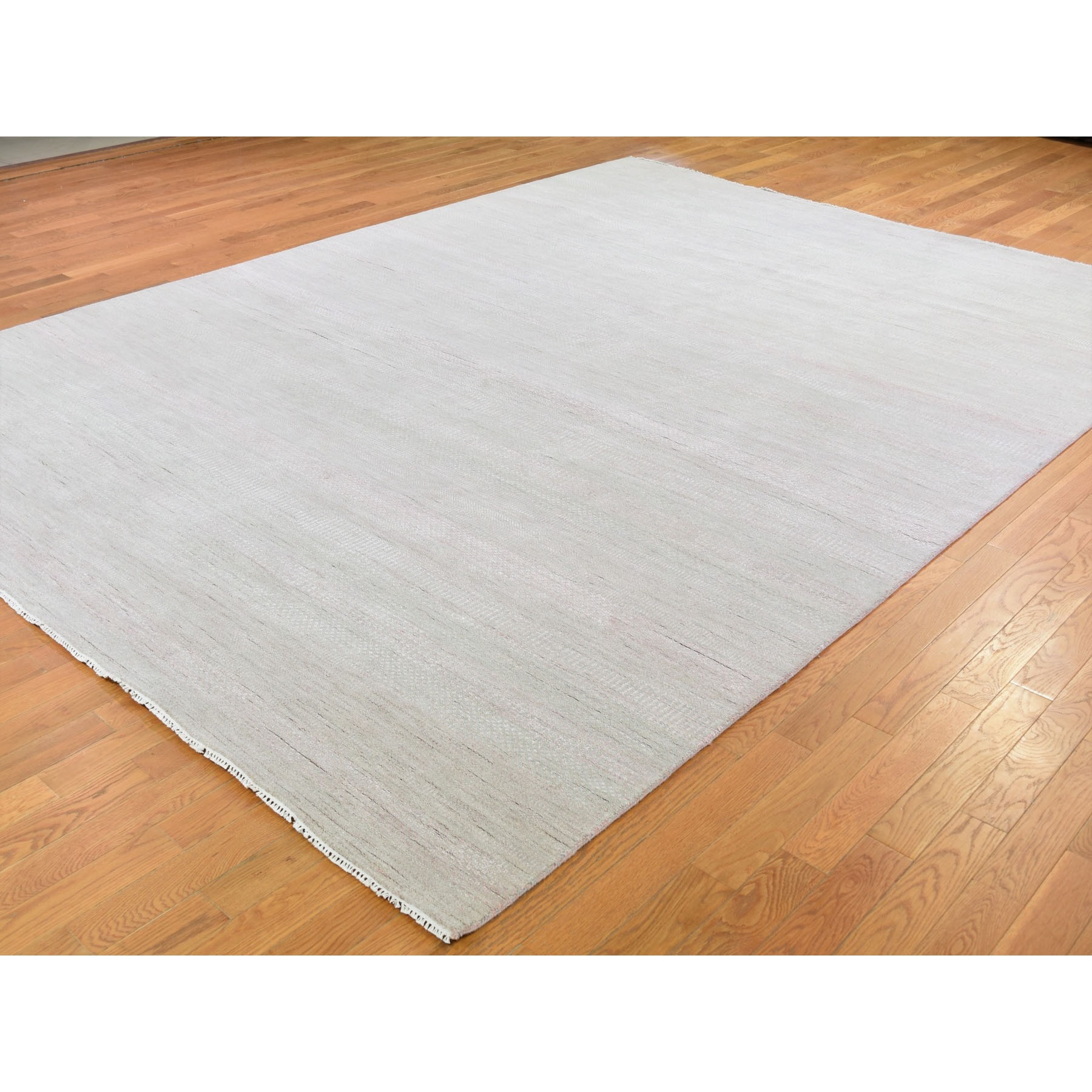"""9'x12'2"""" Hand Knotted Wool and Silk Grass Design Oriental Rug"""