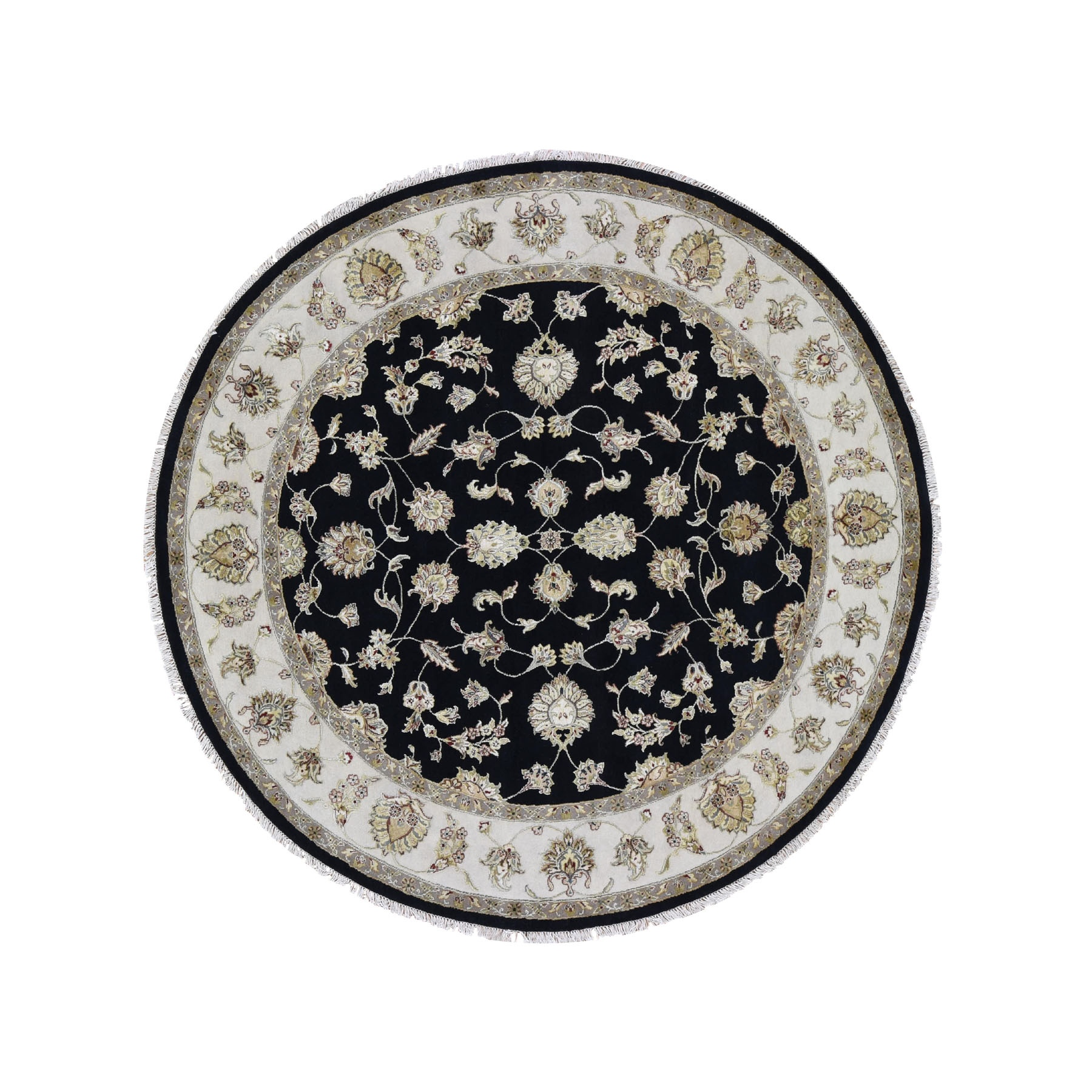 """8'3""""X8'3"""" Half Wool And Half Silk Round Rajasthan Hand Knotted Oriental Rug moad7977"""