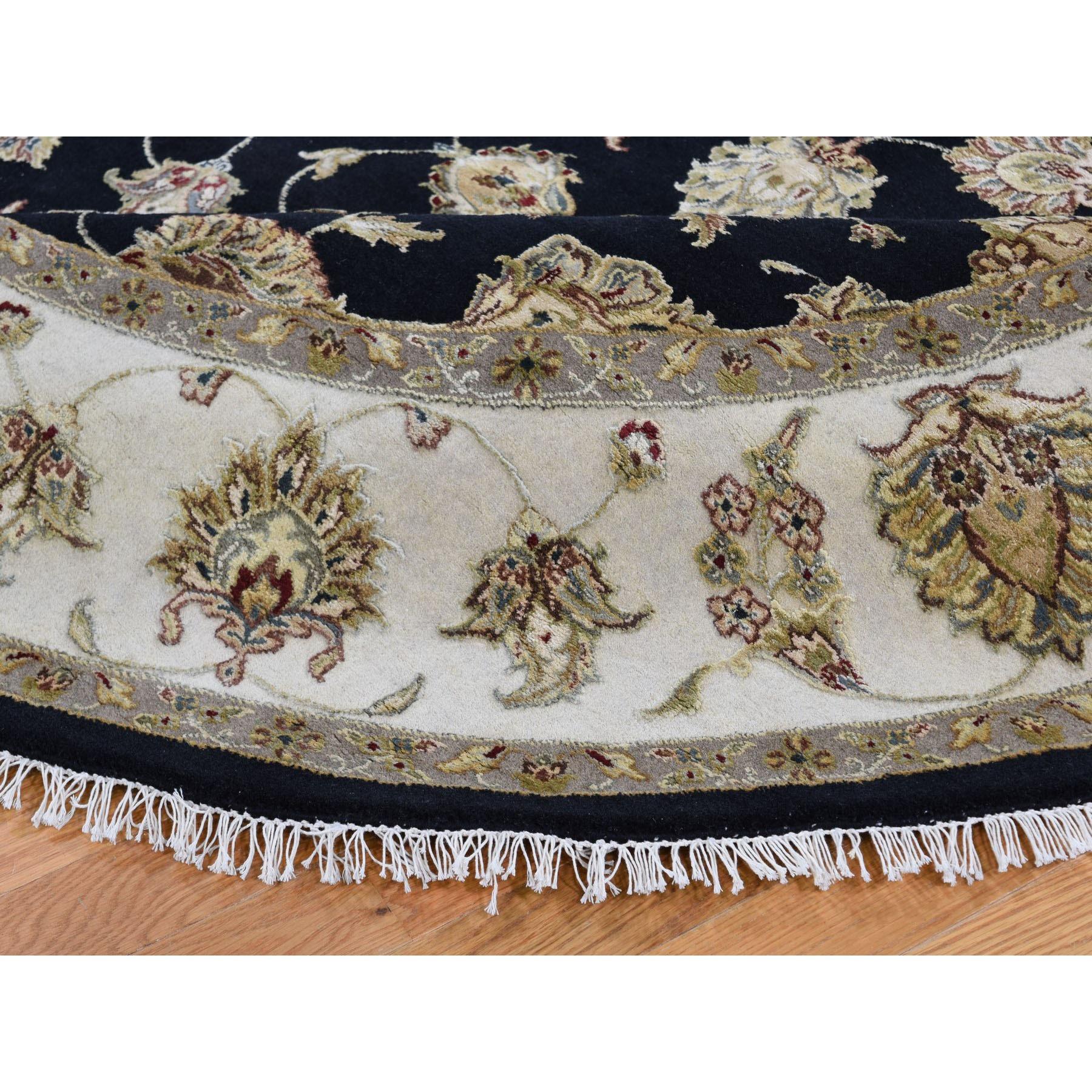 "8'3""x8'3"" Half Wool and Half Silk Round Rajasthan Hand Knotted Oriental Rug"