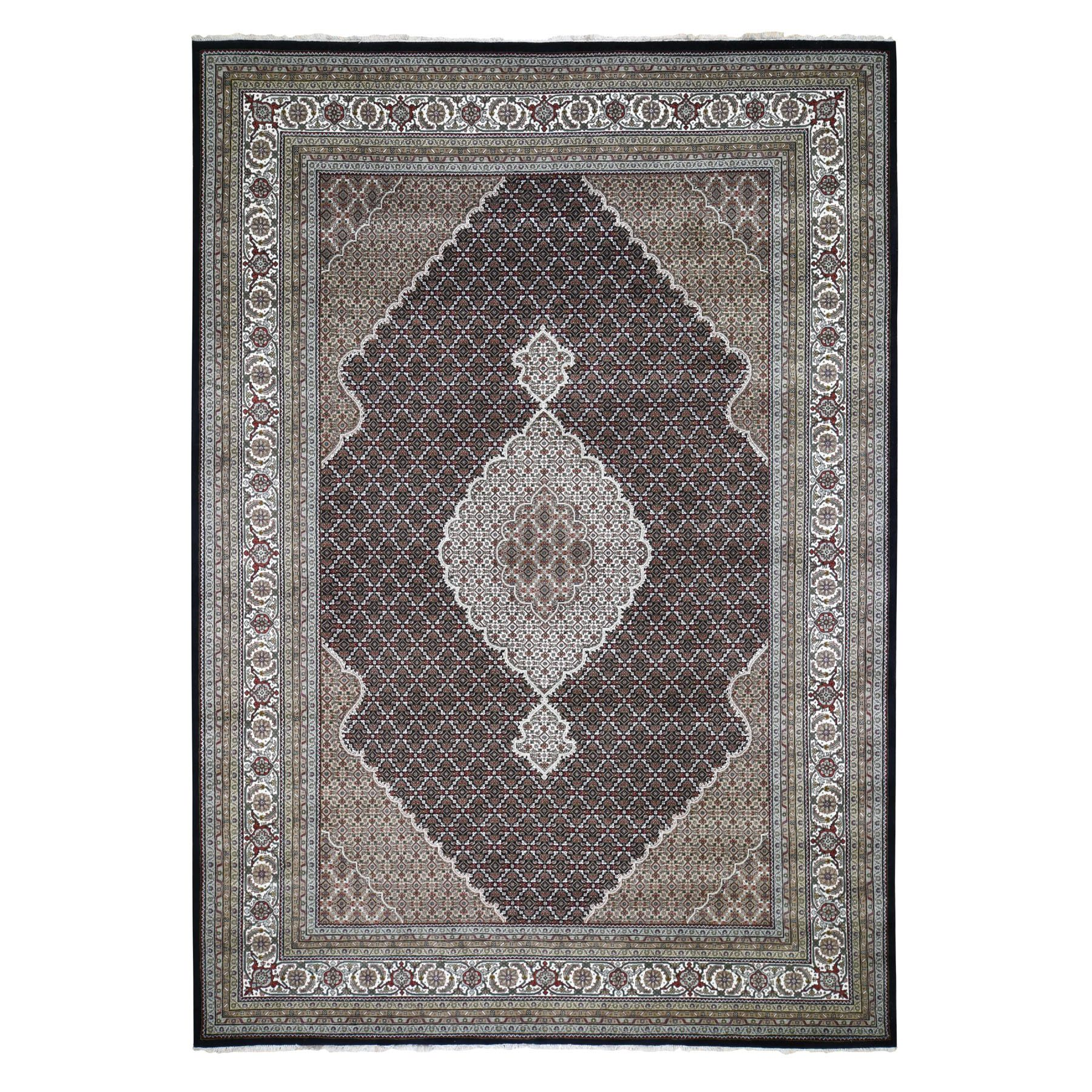 "9'10""X14' Black Tabriz Mahi Wool And Silk Hand Knotted Oriental Rug moad7979"