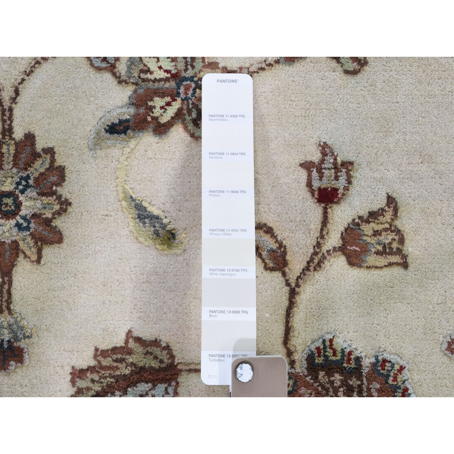 9-1 x12- Ivory Hand Knotted Half Wool And Half Silk Rajasthan Oriental Rug