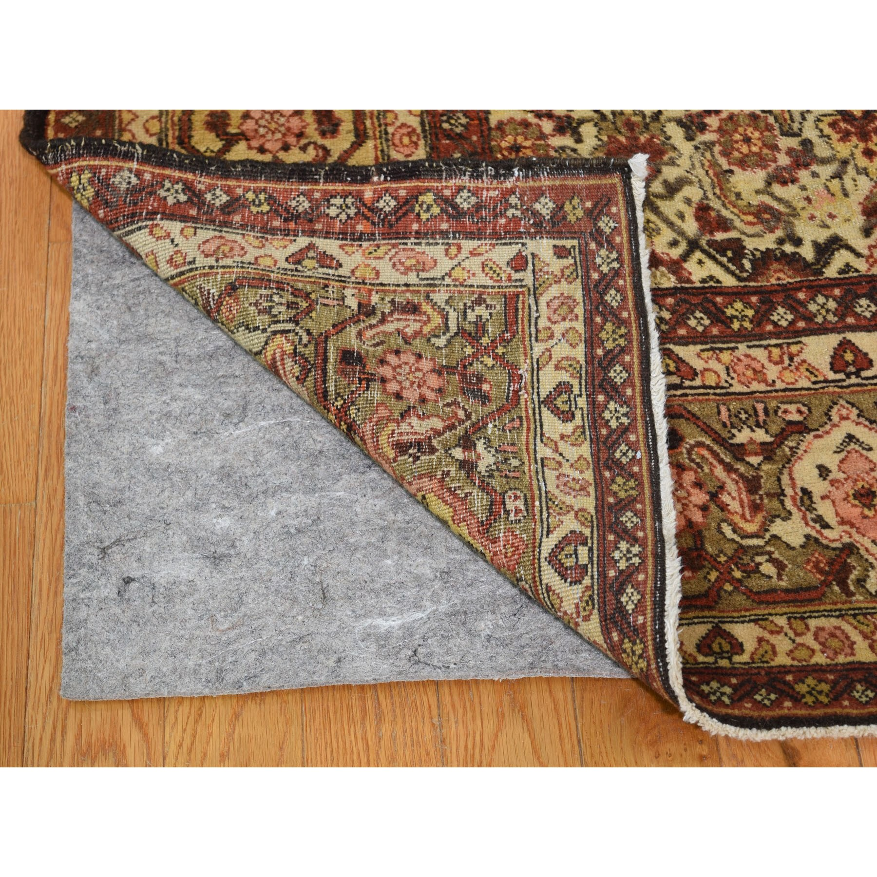 "8'4""x11'5"" Gold Antique Persian Tabriz Fish Design Pure Wool Hand Knotted Oriental Rug"