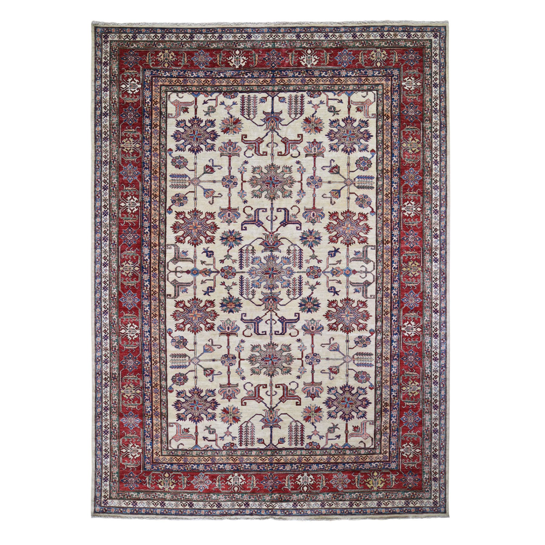 "9'1""X12'2"" Ivory Super Kazak Heriz Design Pure Wool Hand Knotted Oriental Rug moad7987"