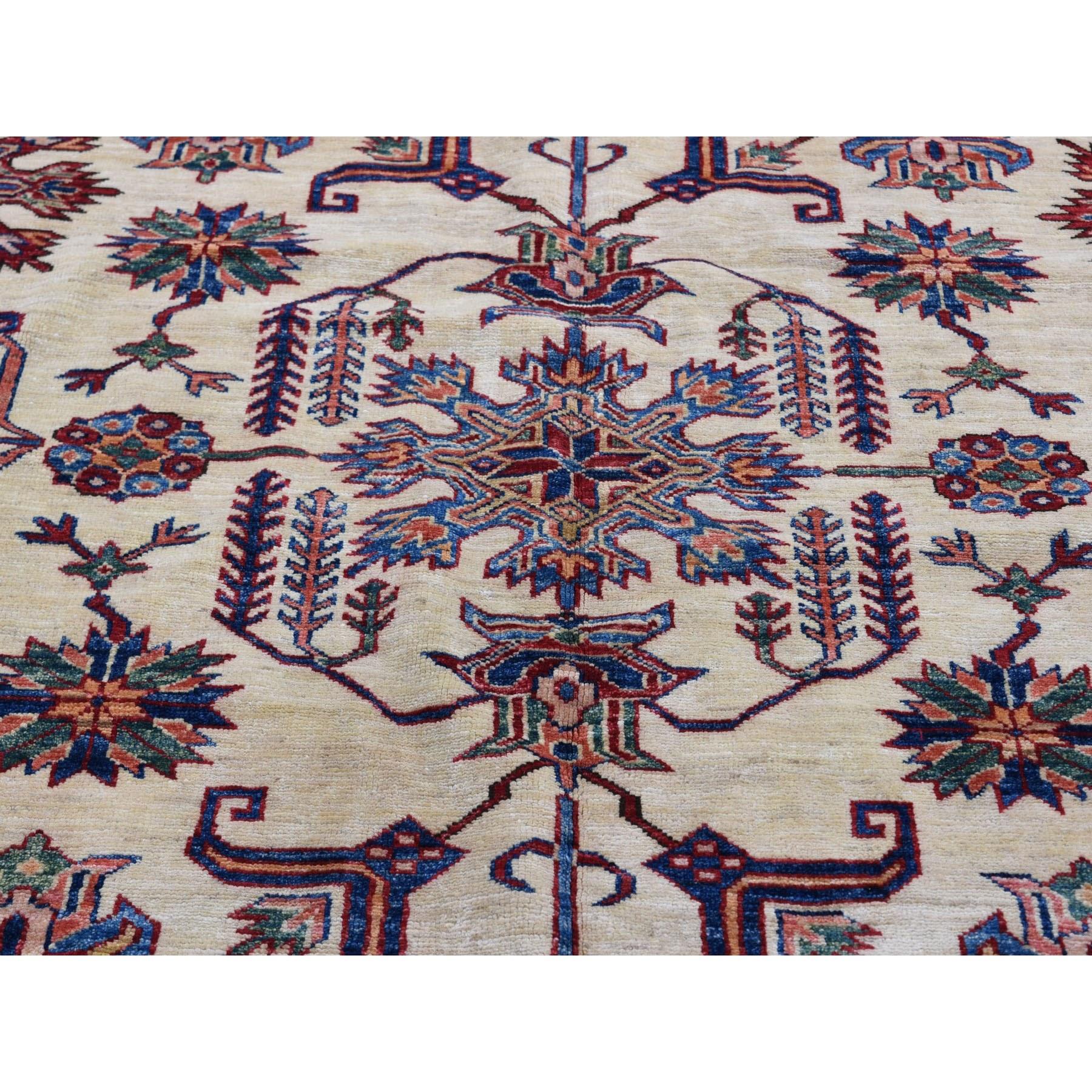 "9'1""x12'2"" Ivory Super Kazak Heriz Design Pure Wool Hand Knotted Oriental Rug"