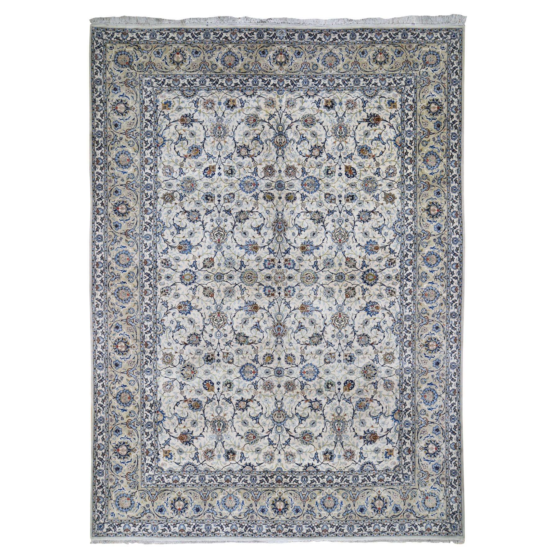 """9'4""""x12'9"""" Ivory Kurk Wool Vintage Persian Kashan Full Pile Clean Hand Knotted Oriental Rug"""