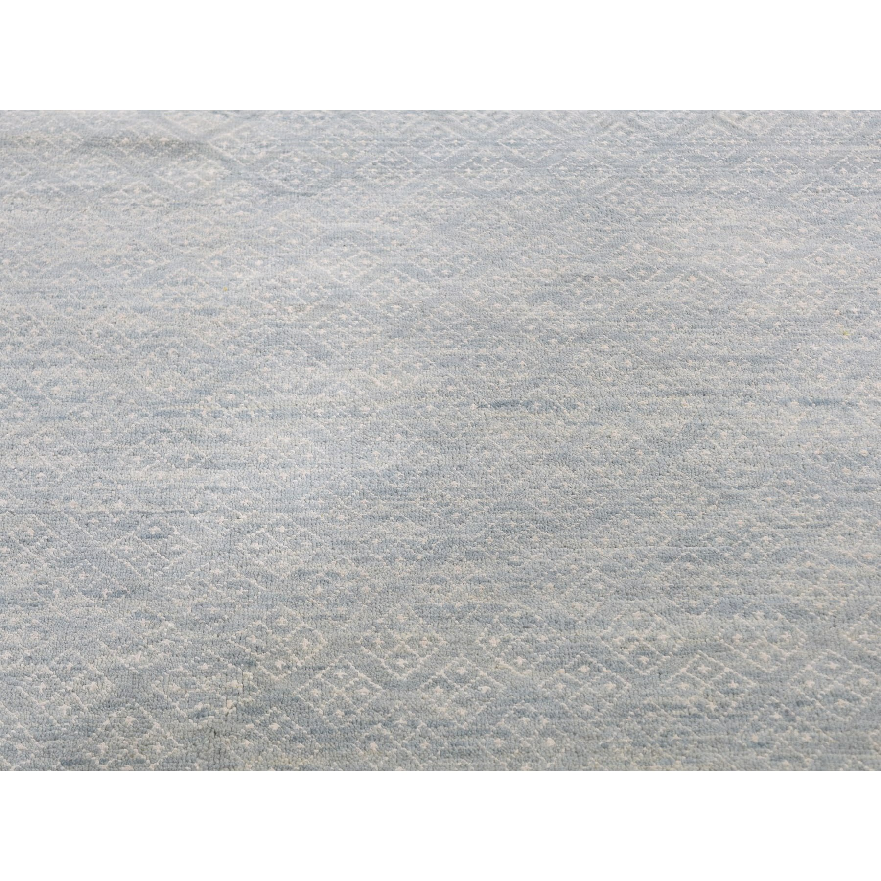 """9'x12'2"""" Tone on Tone Wool and Silk Modern Hand Knotted Oriental Rug"""