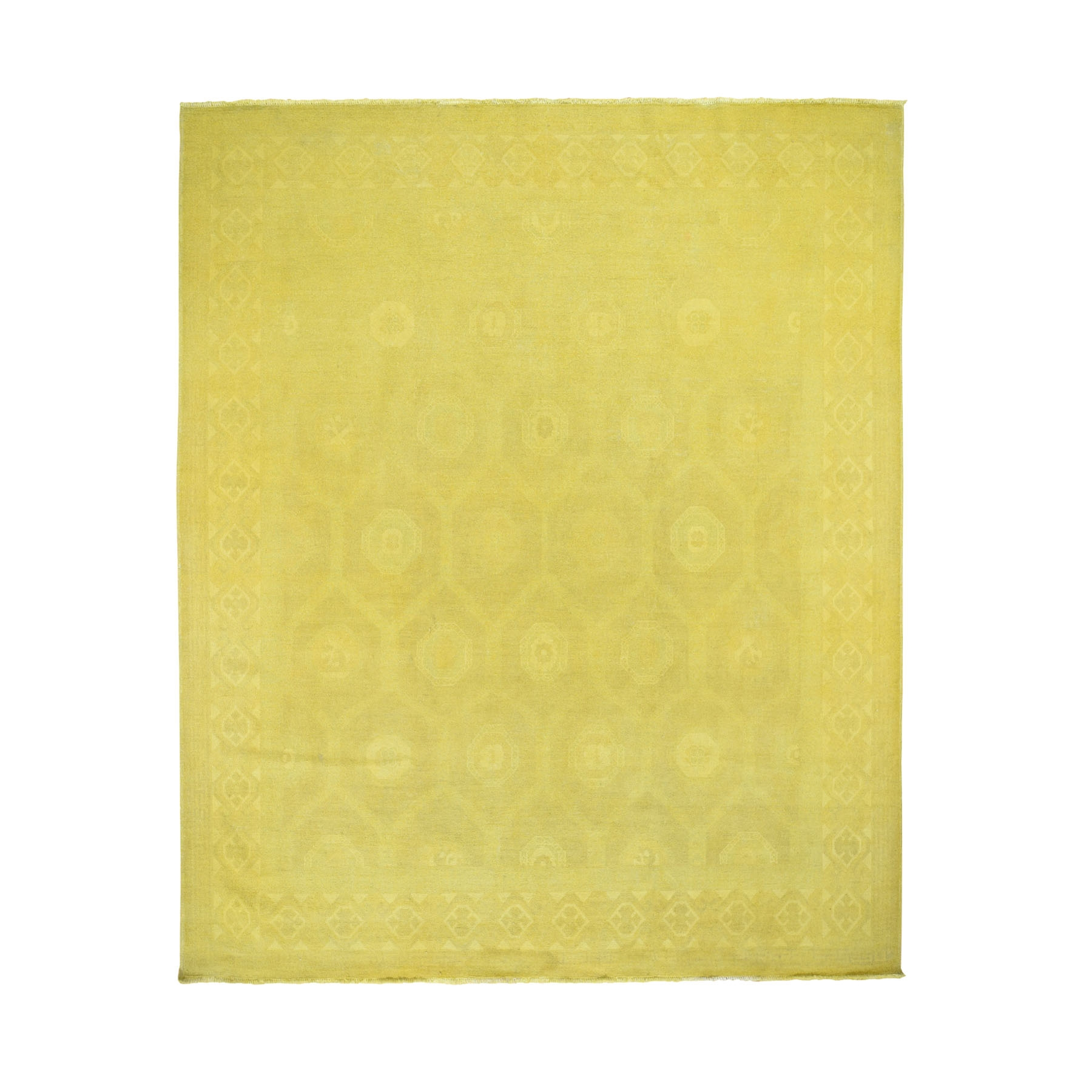 "8'3""X9'9"" Yellow Overdyed Peshawar Hand Knotted Pure Wool Oriental Rug moad799d"