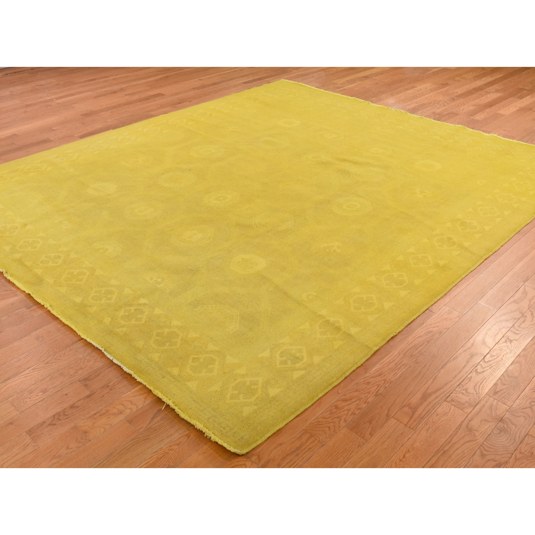 """8'3""""x9'9"""" Yellow Overdyed Peshawar Hand Knotted Pure Wool Oriental Rug"""