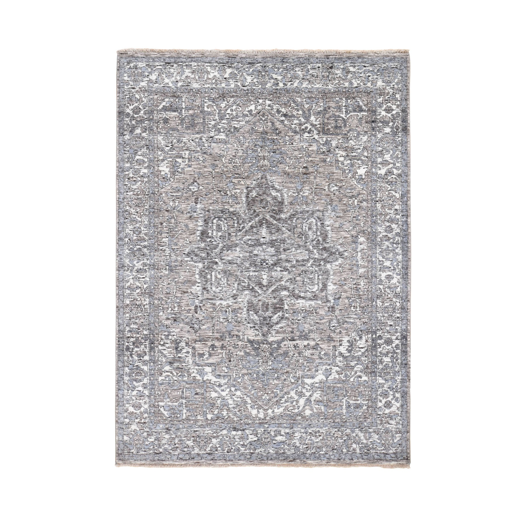 "5'1""X7'2"" Undyed Natural Wool Heriz Design Hand Knotted Oriental Rug moad799e"