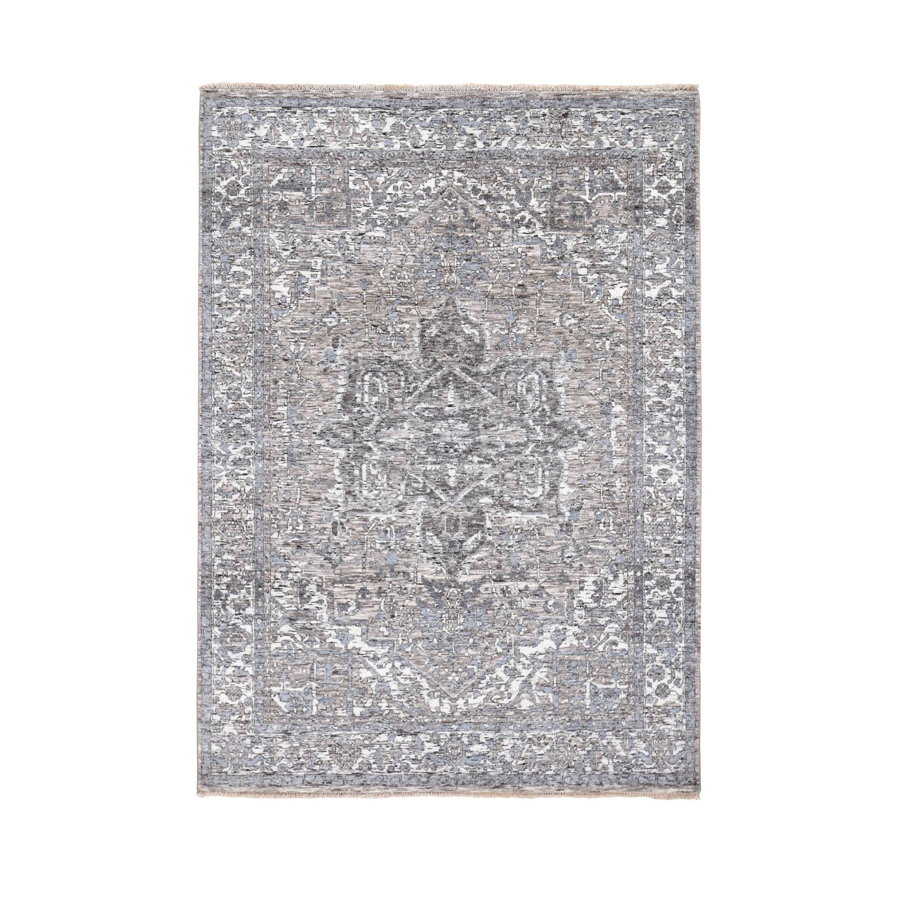 "5'1""x7'2"" Undyed Natural Wool Heriz Design Hand Knotted Oriental Rug"