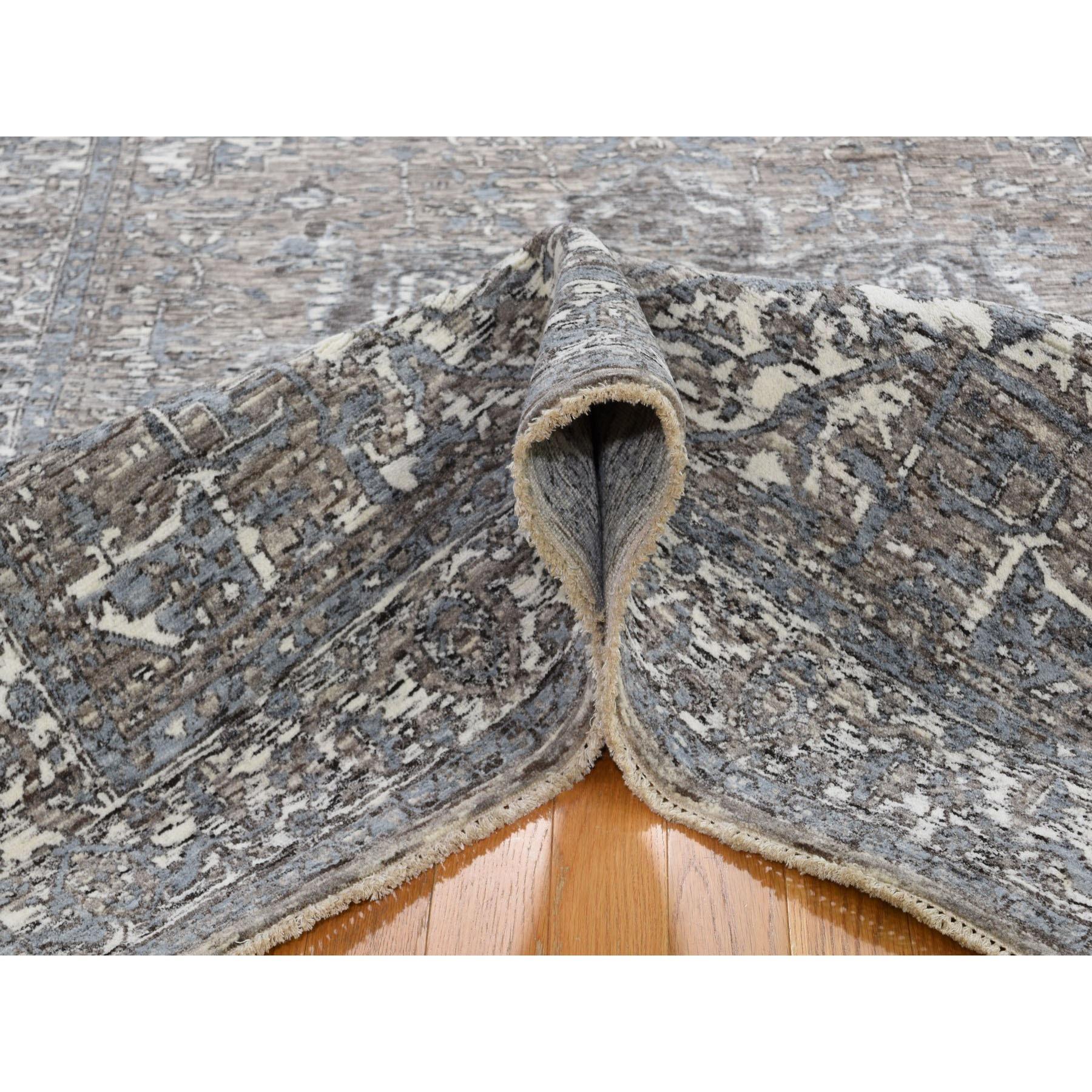 5-1 x7-2  Undyed Natural Wool Heriz Design Hand Knotted Oriental Rug