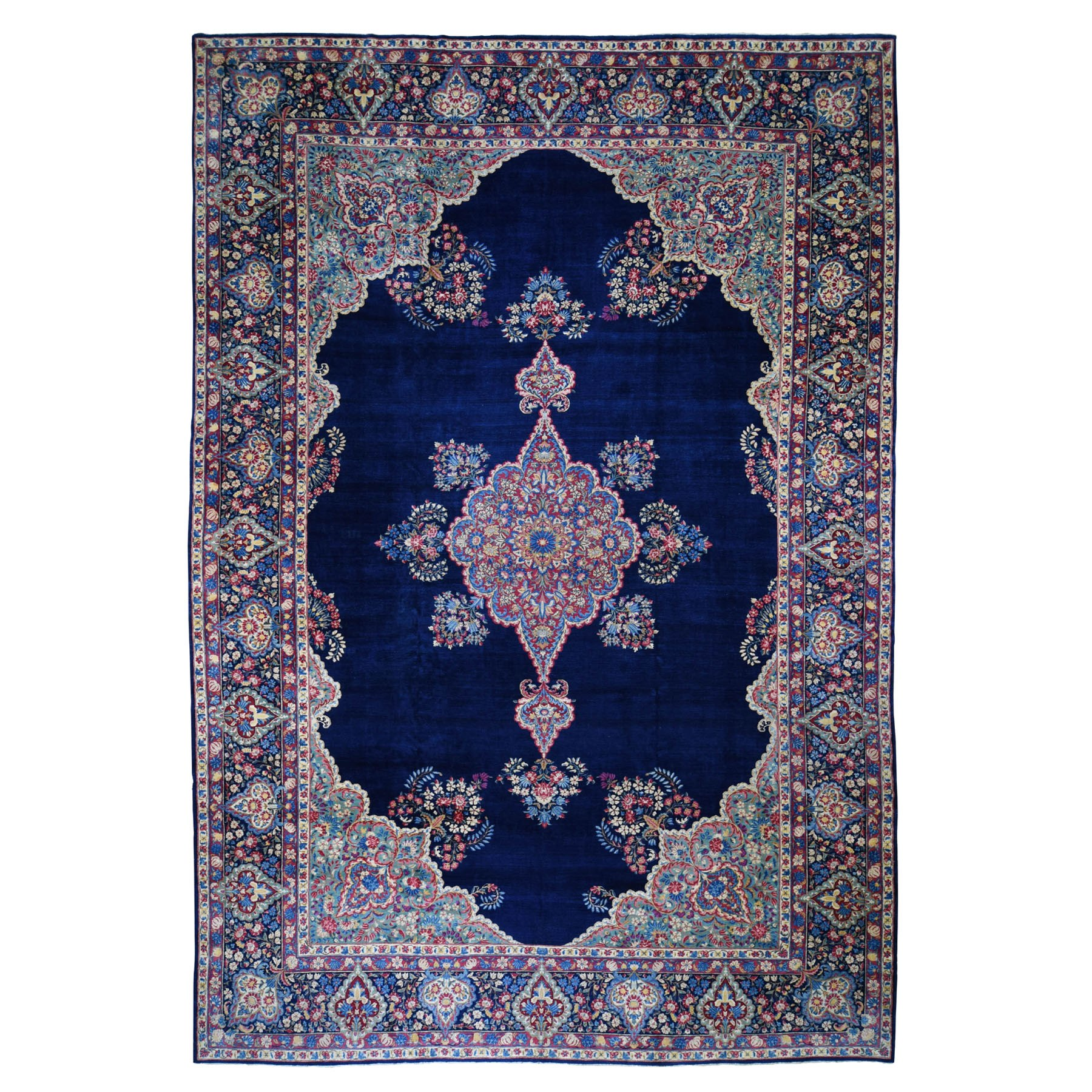 "10'9""X16'10"" Oversized Navy Antique Persian Kerman Good Cond Hand Knotted Oriental Rug moad8000"