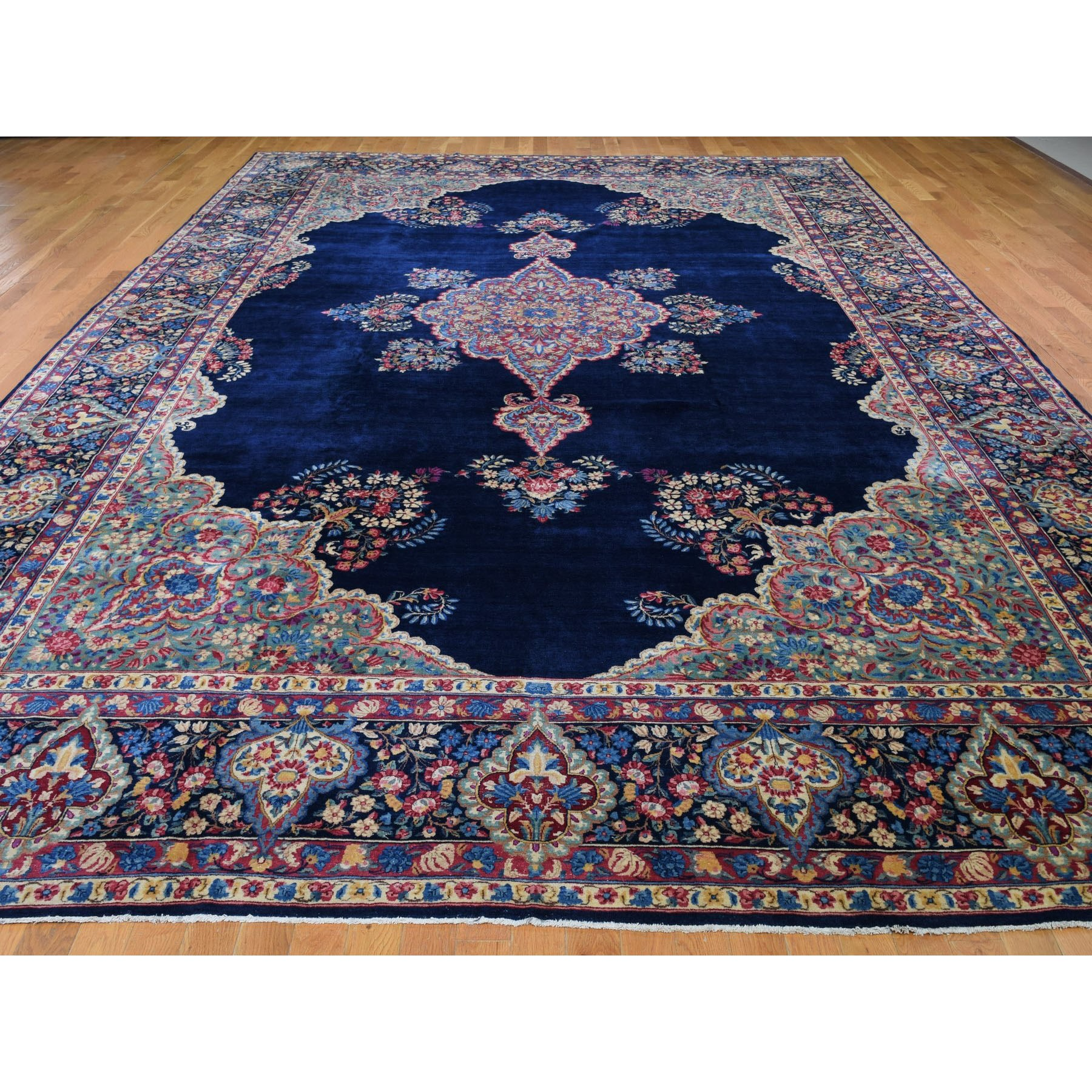 """10'9""""x16'10"""" Oversized Navy Antique Persian Kerman Good Cond Hand Knotted Oriental Rug"""