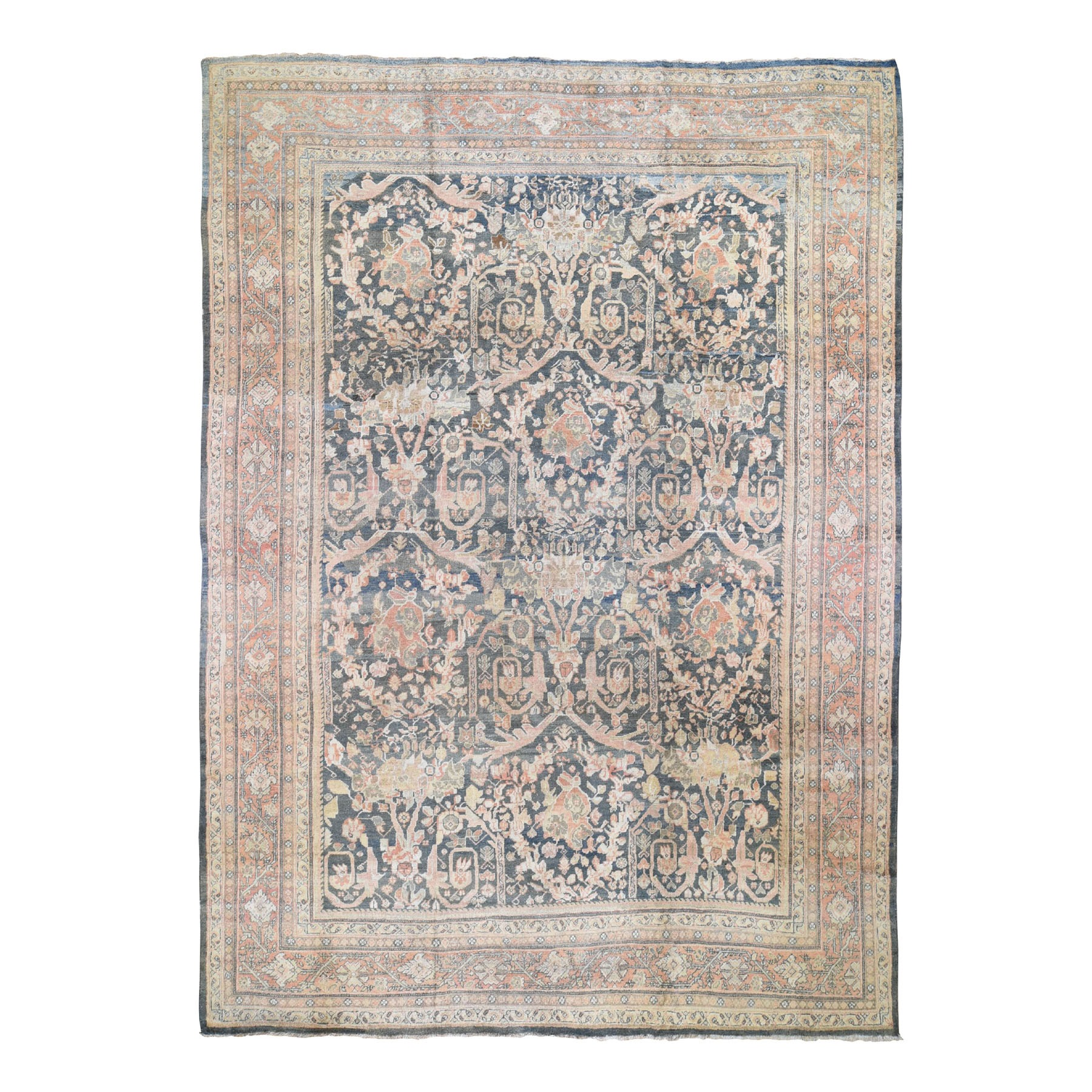 "10'7""X13'6"" Navy Antique Persian Mahal Good Cond Pure Wool Hand Knotted Oriental Rug moad800a"