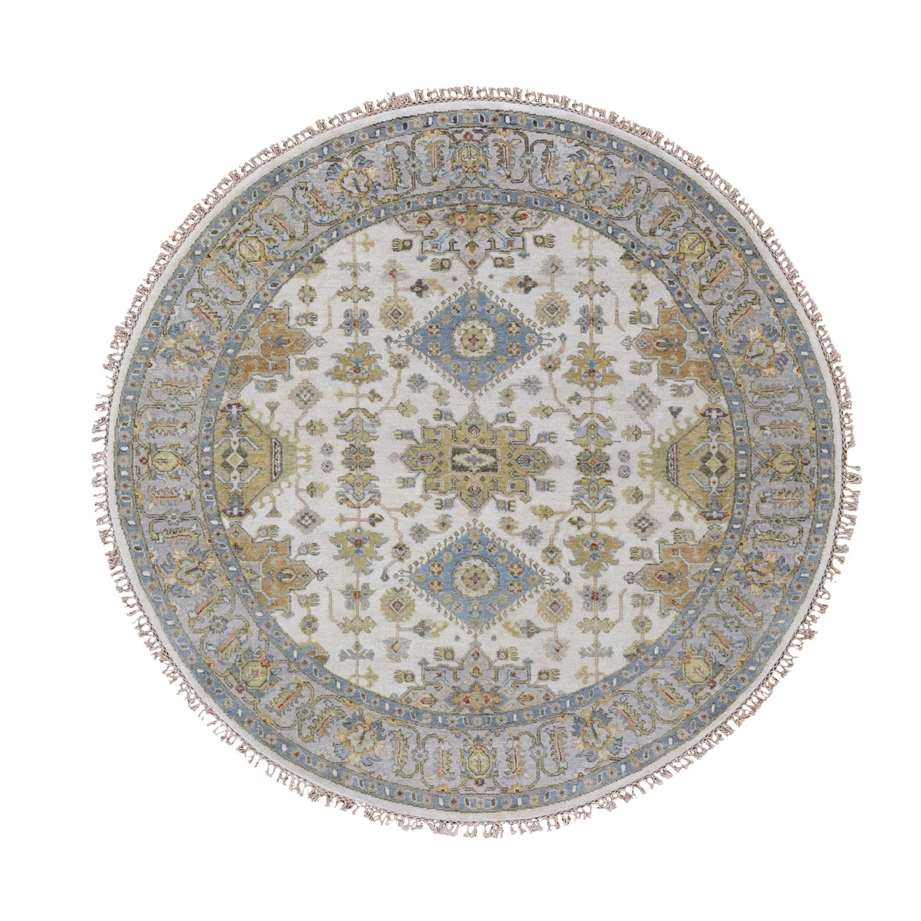"6'1""X6'1"" Round Ivory Karajeh Design Pure Wool Hand Knotted Oriental Rug moad800c"