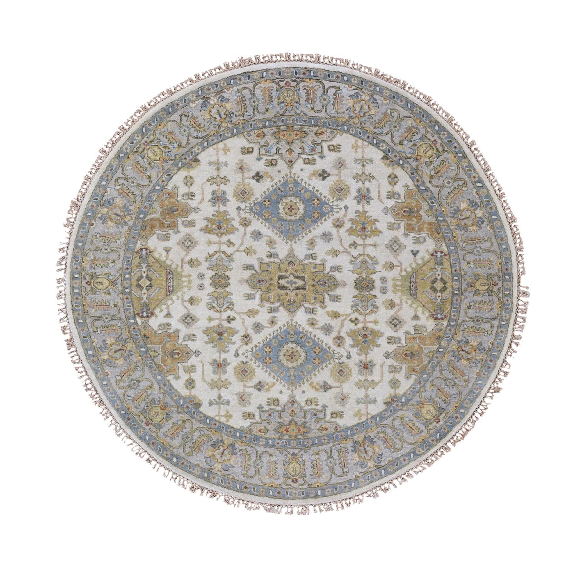"6'1""x6'1"" Round Ivory Karajeh Design Pure Wool Hand Knotted Oriental Rug"