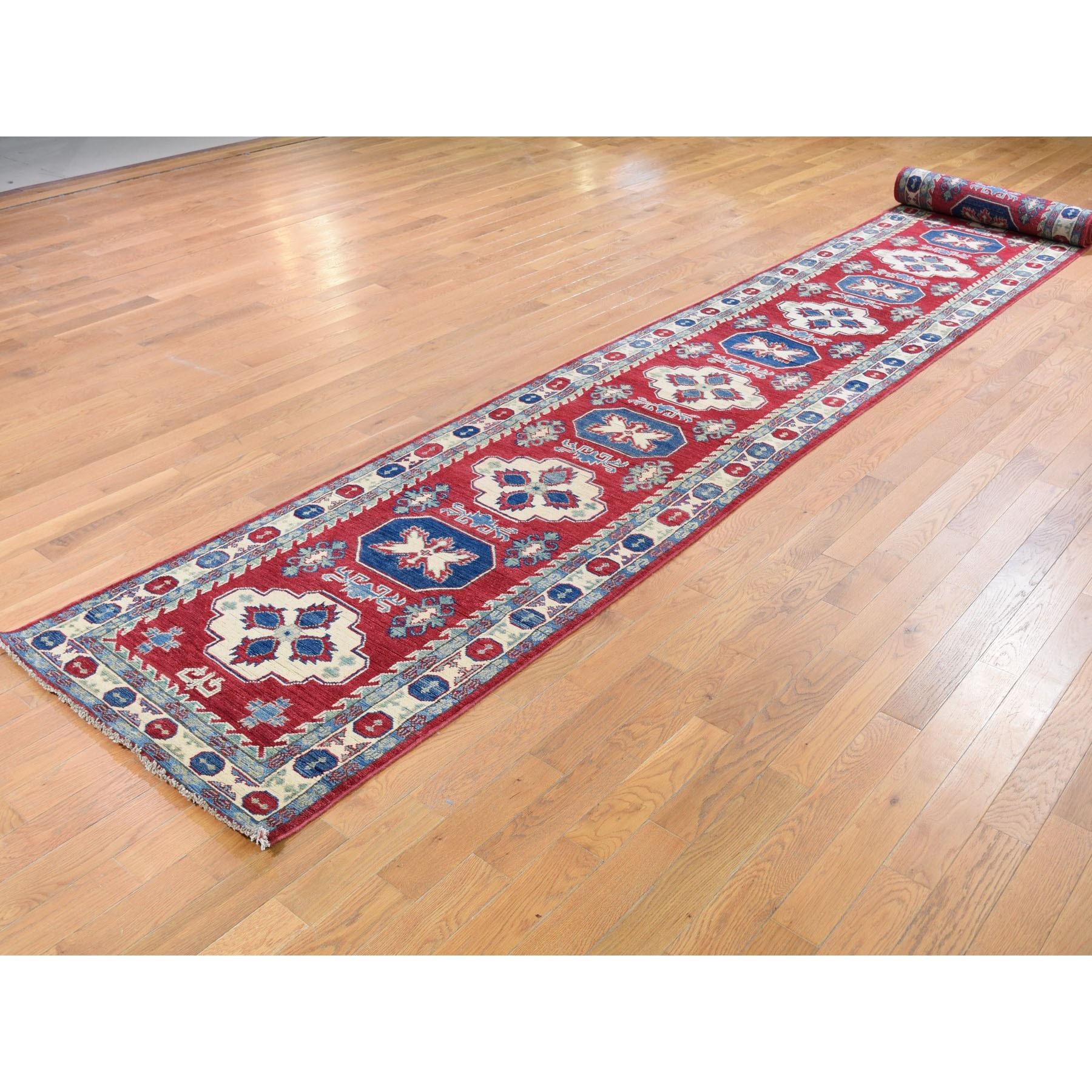 "2'8""x20' Red Kazak Tribal Design XL Runner Pure Wool Hand Knotted Oriental Rug"