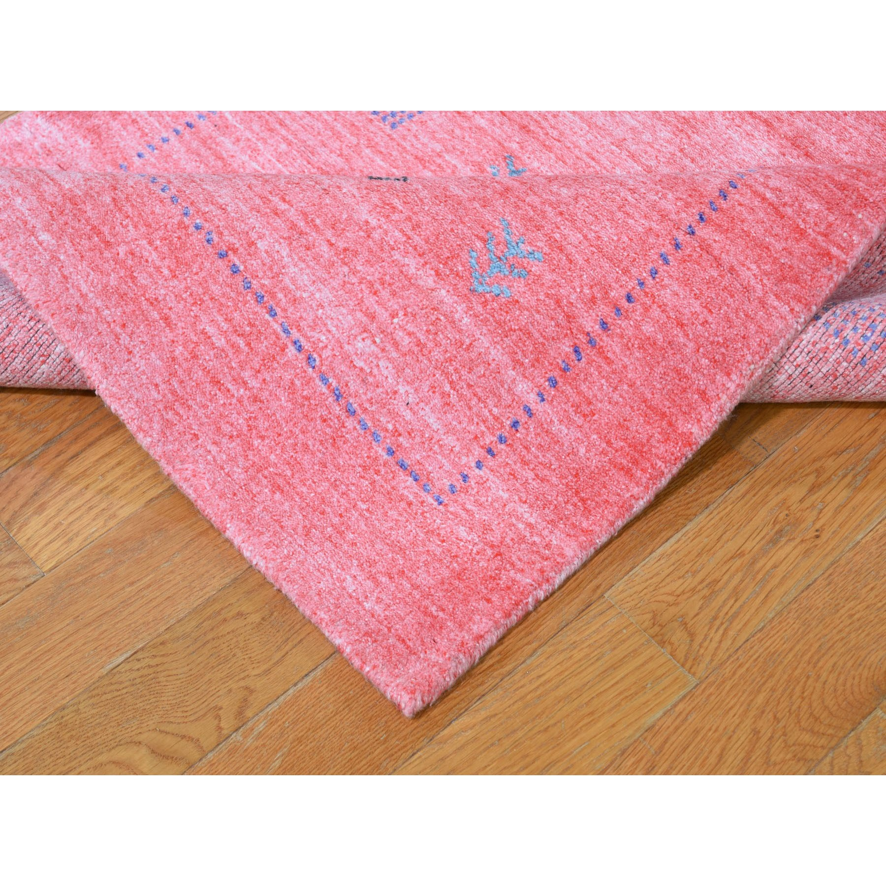 "2'8""x13'6"" Pink Wool and Silk Hand Loomed Gabbeh Runner Oriental Rug"