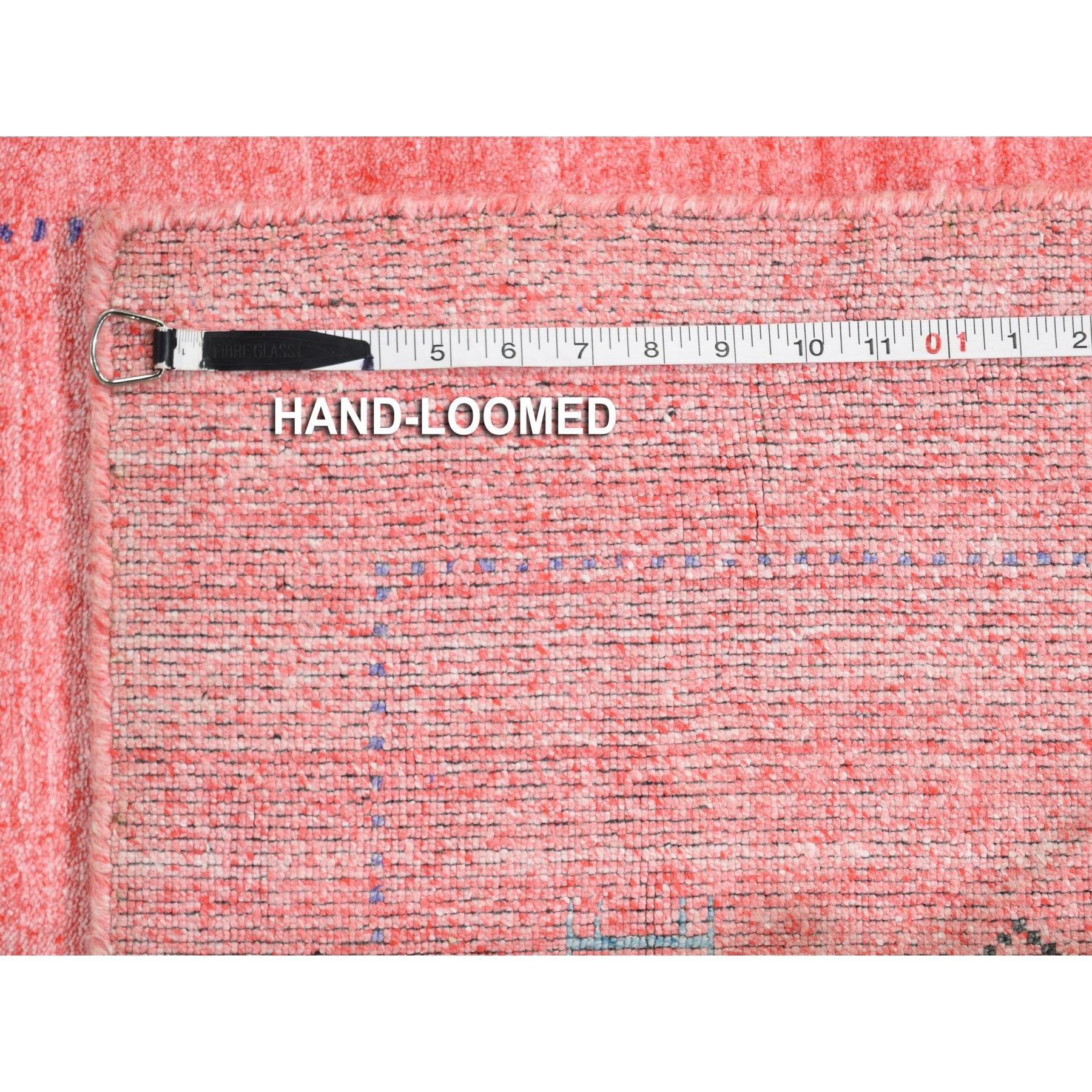 "2'8""x13'6"" Pink Wool and Silk Hand Loomed Gabbeh Runner Oriental Rug"