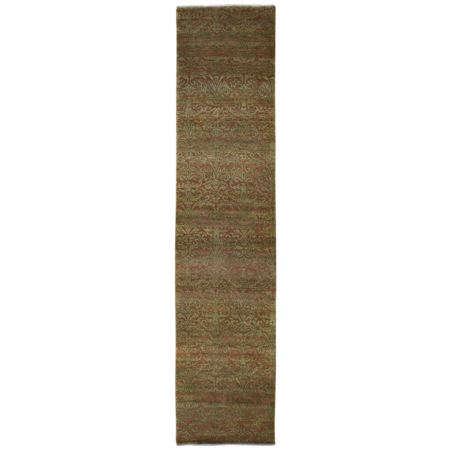 "2'5""X11'4"" Brown Damask Wool And Silk Tone On Tone Runner Hand Knotted Oriental Rug moad80aa"