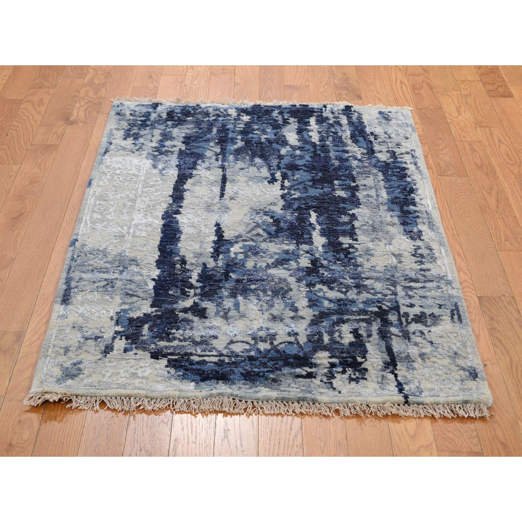 3'x5' Wool And Silk Shibori Design Tone On Tone Hand Knotted Oriental Rug