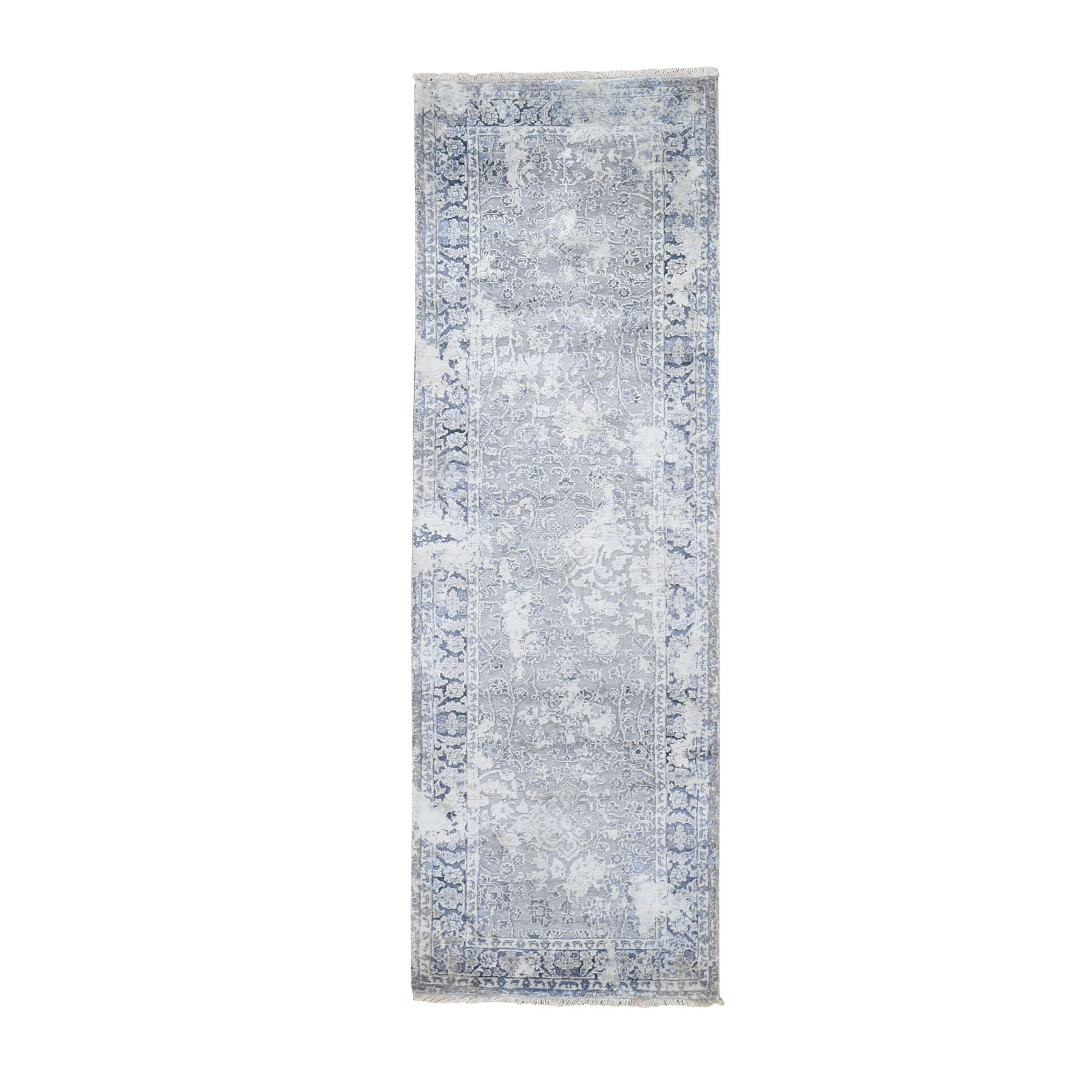 "2'6""X8' Gray Broken Persian Design With Pure Silk Runner Hand Knotted Oriental Rug moad80ae"