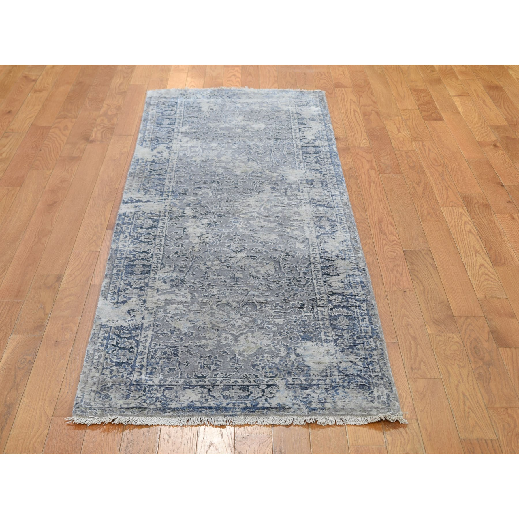 "2'6""x8' Gray Broken Persian Design With Pure Silk Runner Hand Knotted Oriental Rug"