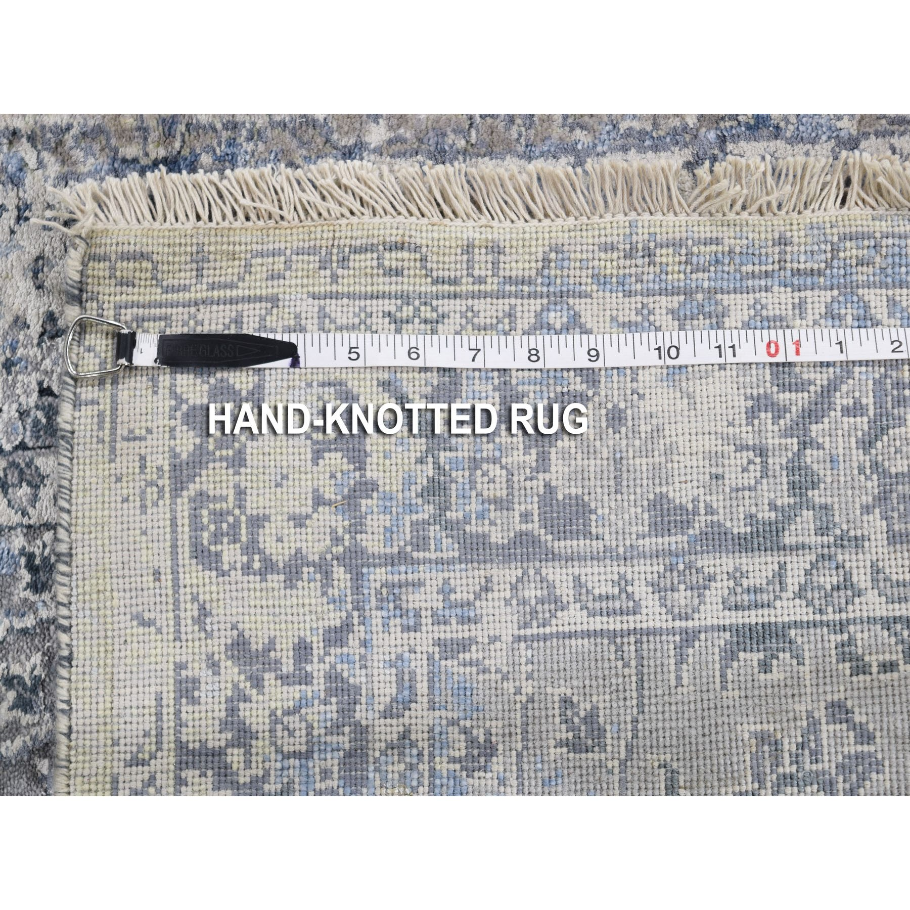 2-5 x8- Gray Broken Persian Design With Pure Silk Runner Hand Knotted Oriental Rug