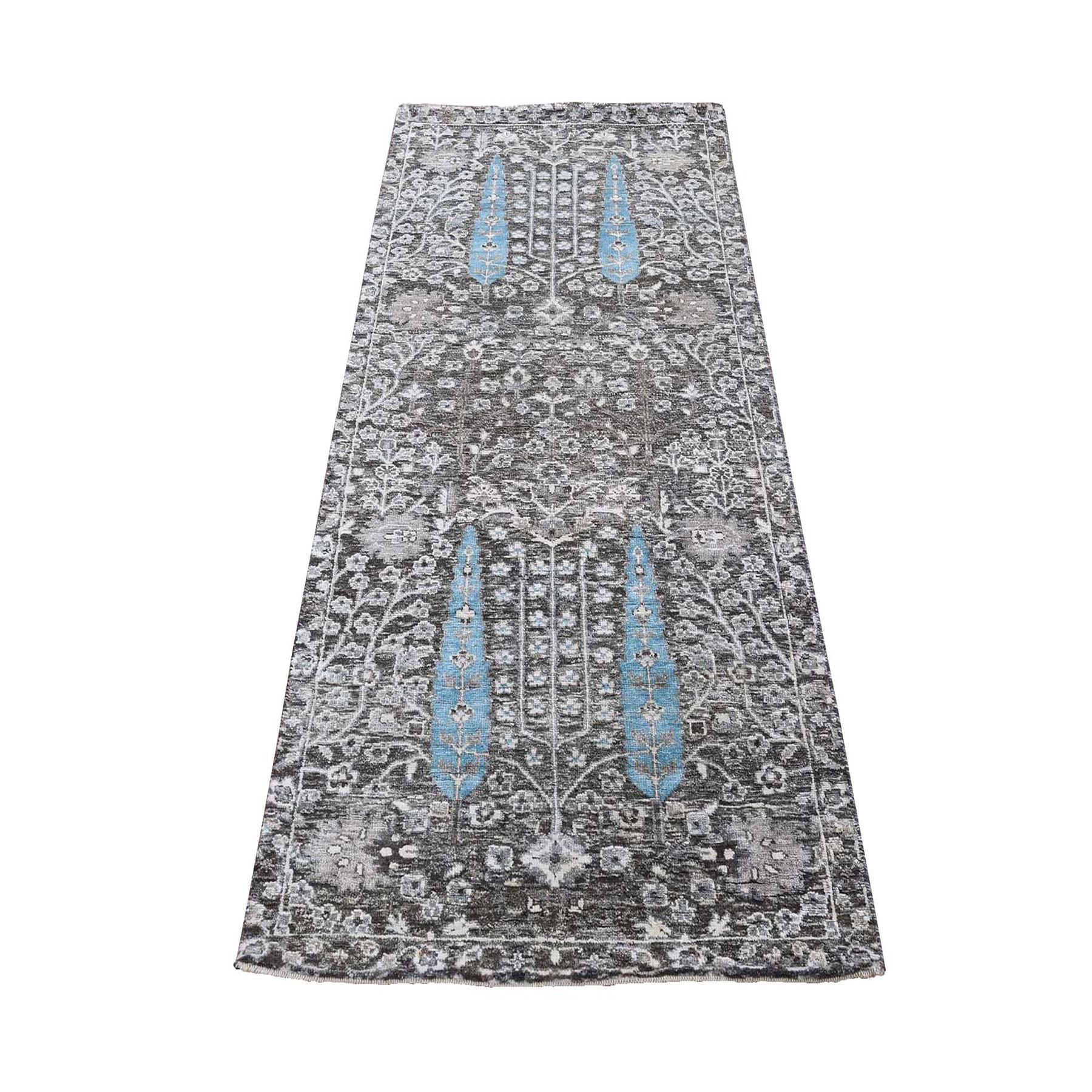 """2'6""""X6'3"""" Cypress Tree Design Silk With Textured Wool Hand Knotted Runner Oriental Rug moad80a7"""