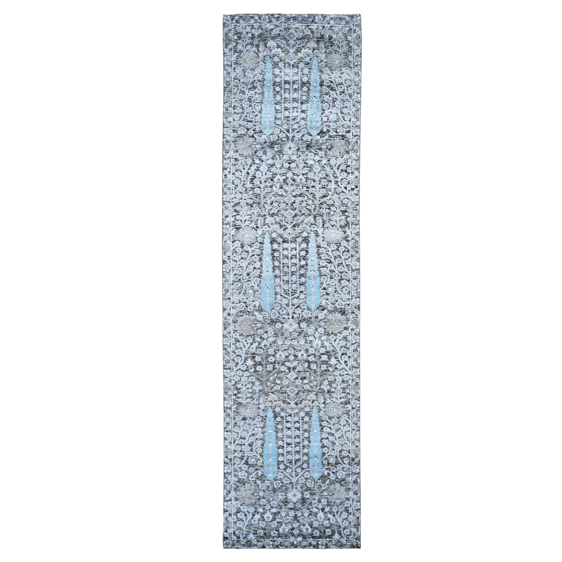 "2'6""X10'1"" Cypress Tree Design Silk With Textured Wool Textured Hand Knotted Runner Oriental Rug moad80a8"