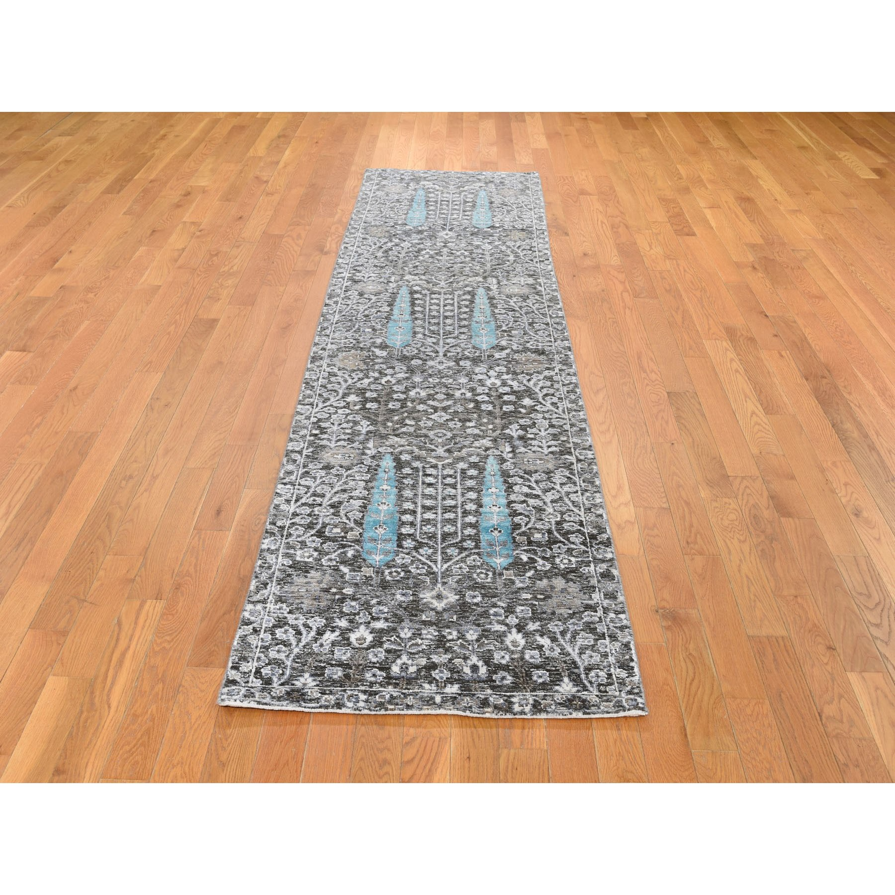 "2'6""x10'1"" Cypress Tree Design Silk With Textured Wool Textured Hand Knotted Runner Oriental Rug"