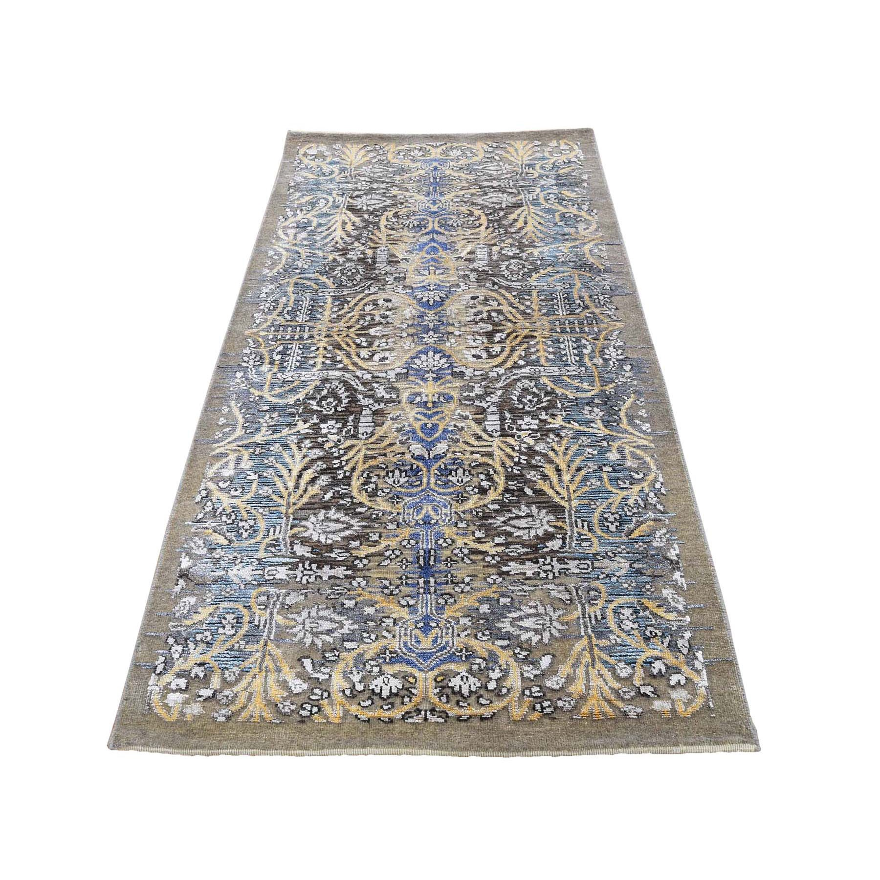 "2'7""x6' Hand Knotted Silk with Textured Wool Transitional Sarouk Runner Oriental Rug 48019"