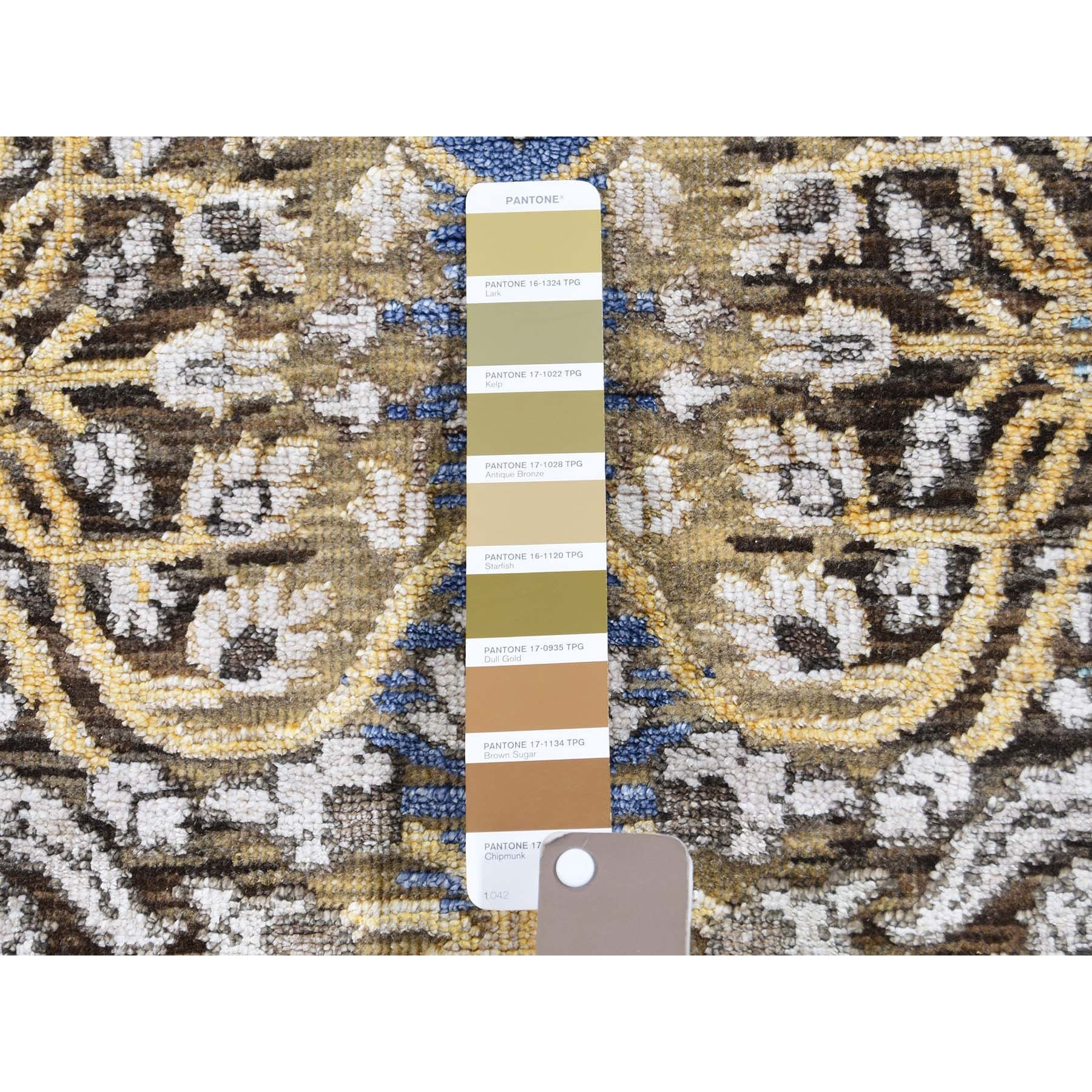 """2'7""""x6' Hand Knotted Silk with Textured Wool Transitional Sarouk Runner Oriental Rug"""