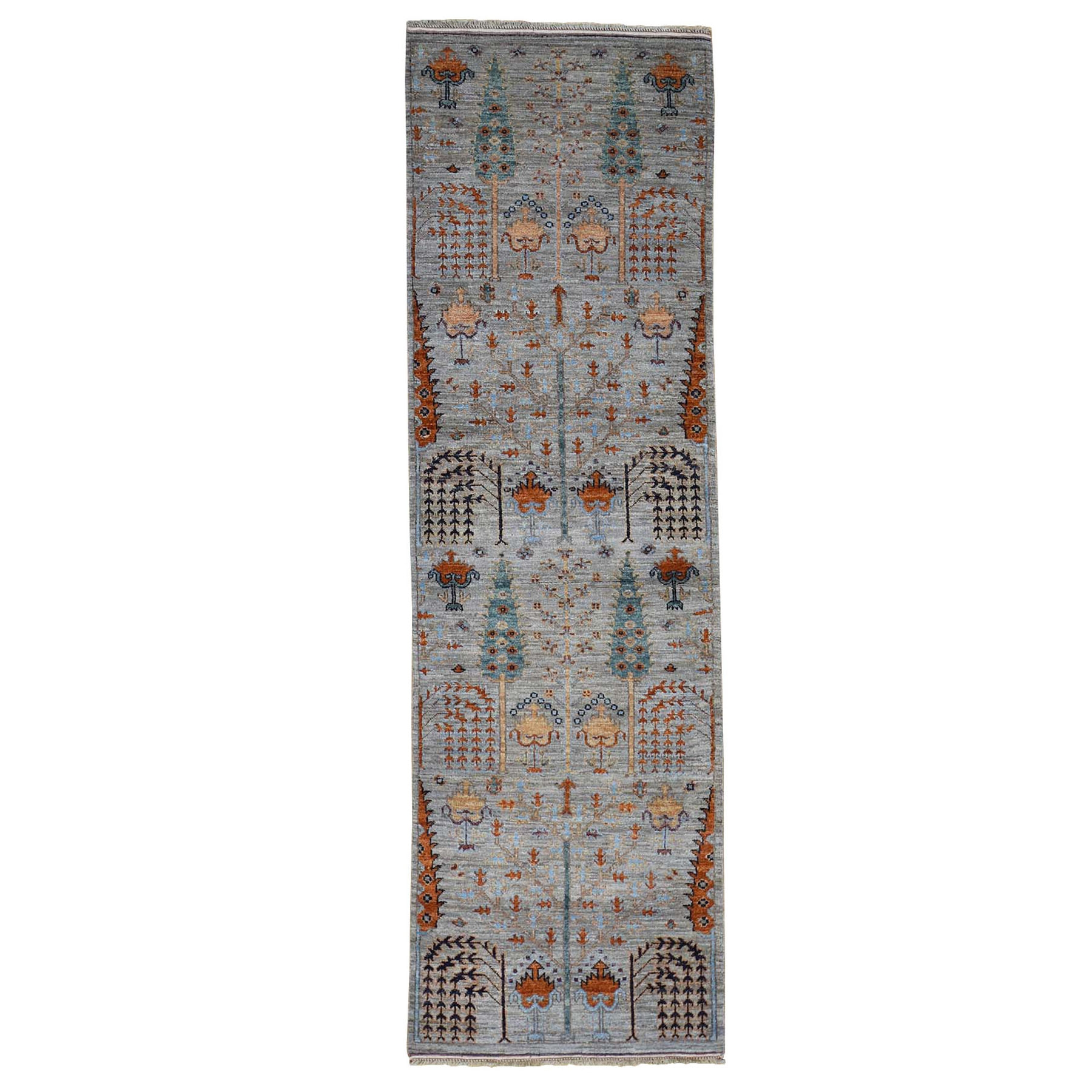 "2'6""X12'4"" Gray Peshawar Willow And Cypress Tree Design Hand Knotted Oriental Runner Rug moad80b0"