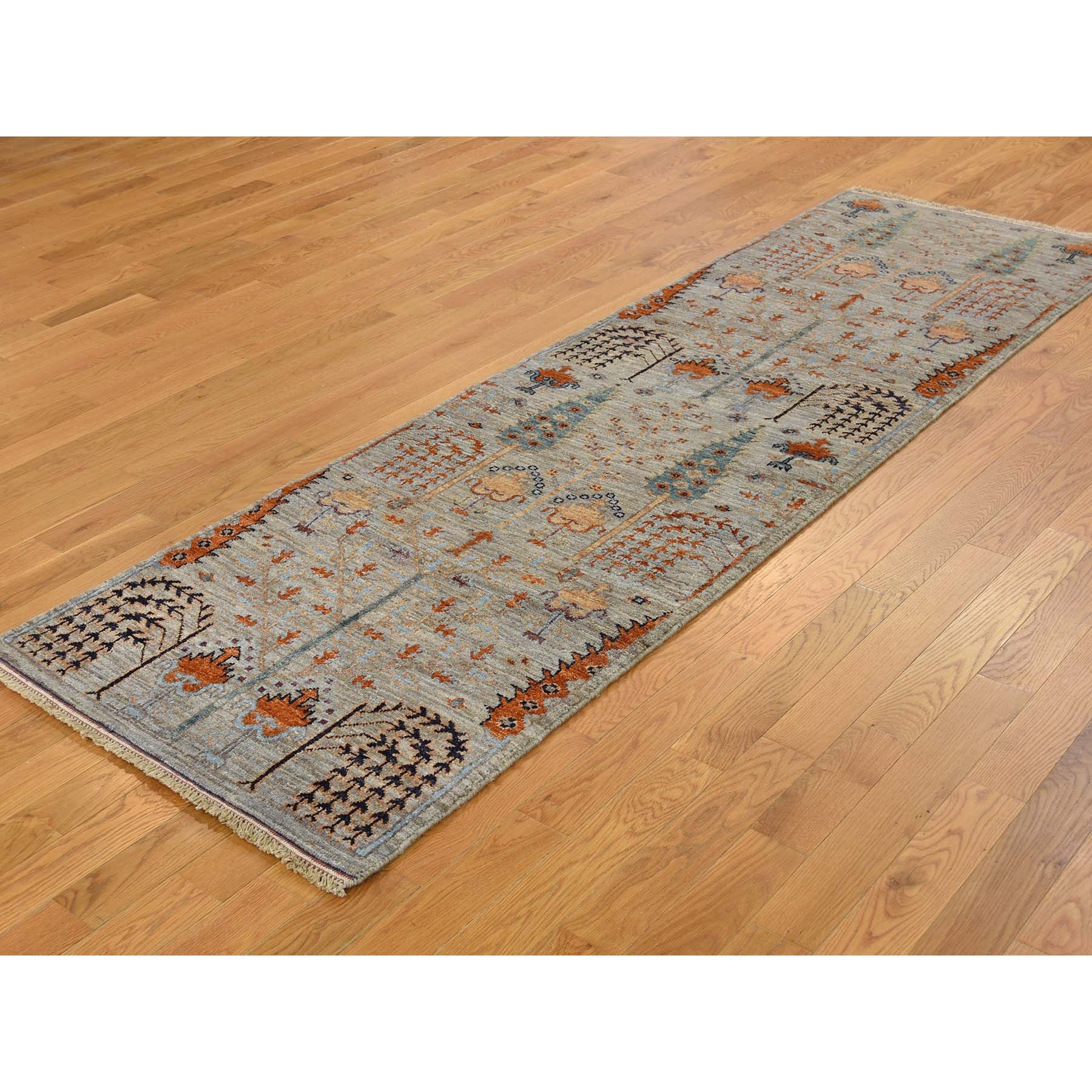 """2'6""""x12'4"""" Gray Peshawar Willow And Cypress Tree Design Hand Knotted Oriental Runner Rug"""
