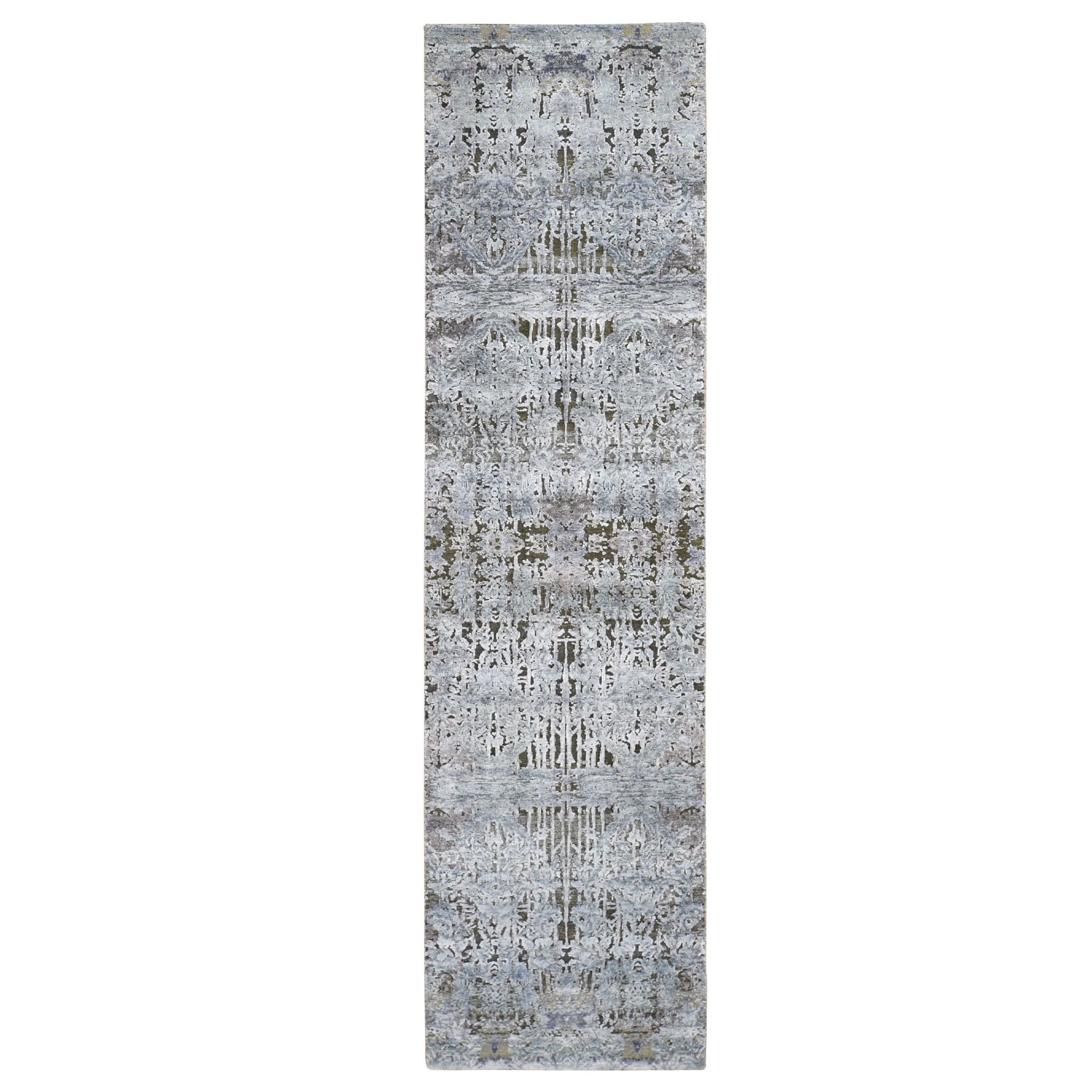 "2'6""X10' Gray Silk With Textured Wool Hand Knotted Modern Runner Oriental Rug moad80ba"