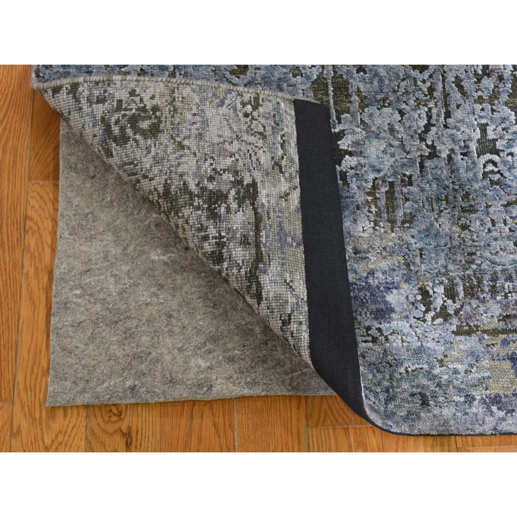 """2'6""""x10' Gray Silk With Textured Wool Hand Knotted Modern Runner Oriental Rug"""