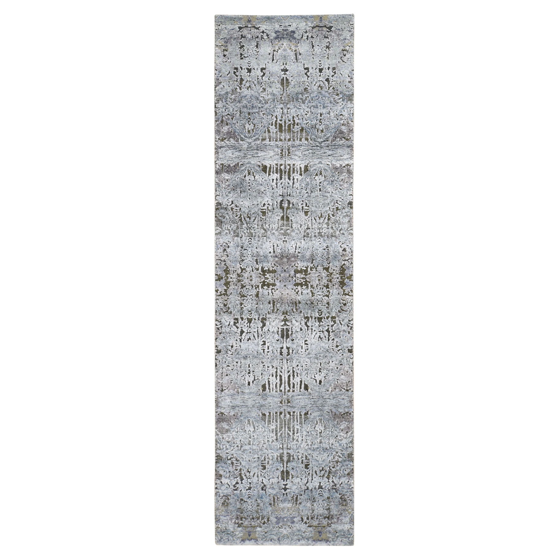 "2'6""X10' Gray Silk With Textured Wool Hand Knotted Modern Runner Oriental Rug moad80bb"