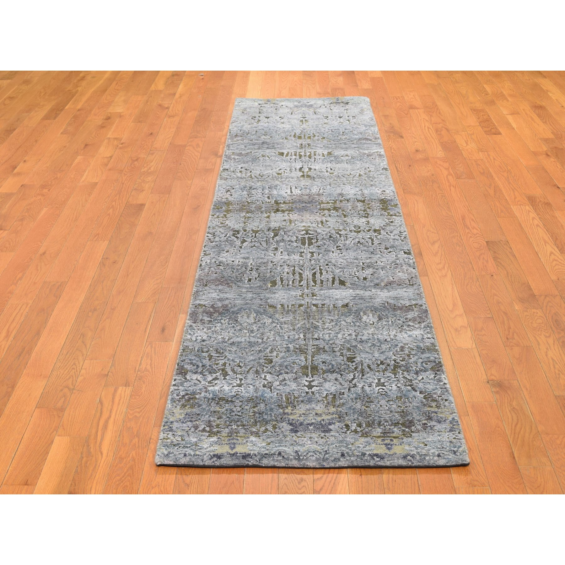 "2'6""x10' Gray Silk With Textured Wool Hand Knotted Modern Runner Oriental Rug"