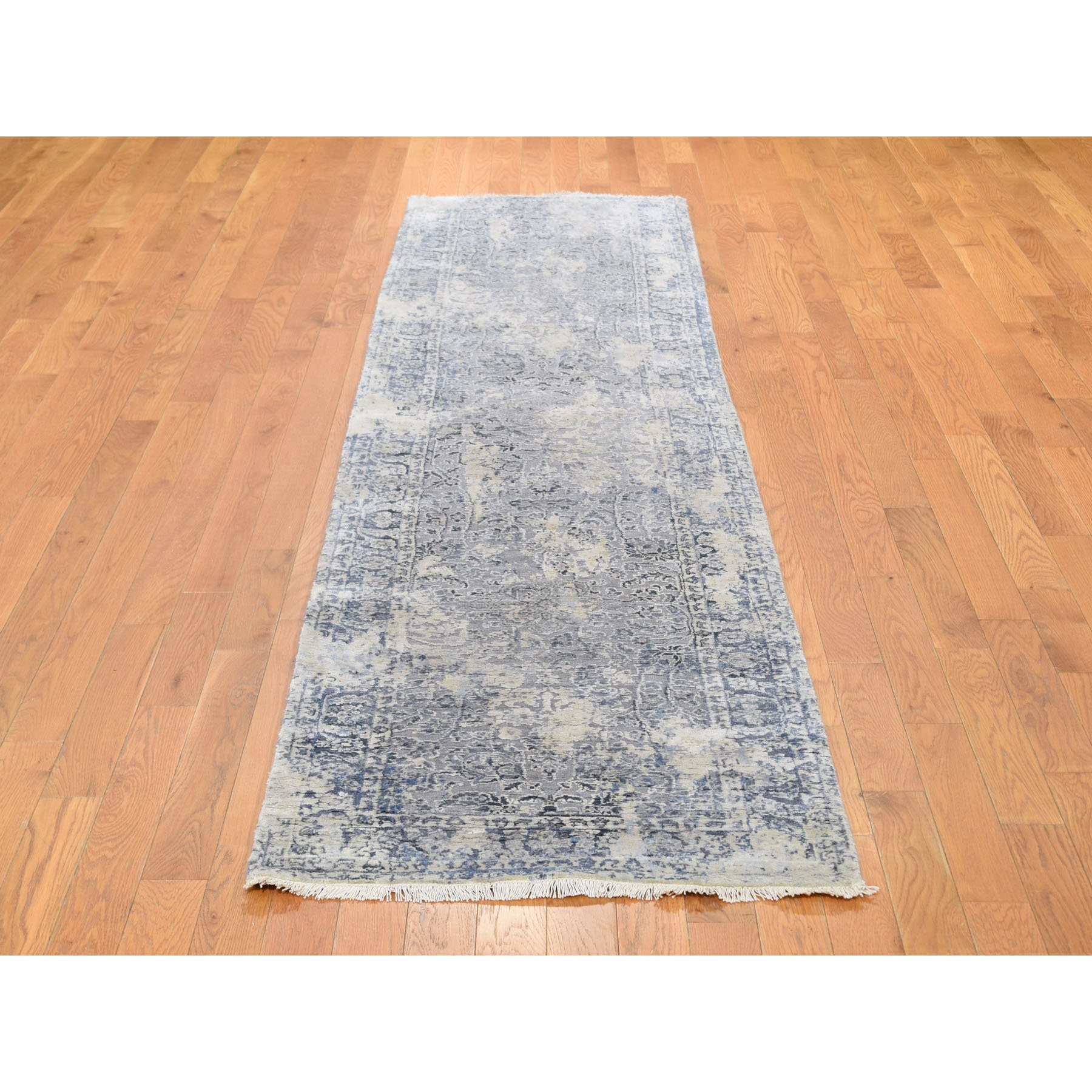 """2'5""""x10' Gray Broken Persian Design With Pure Silk Runner Hand Knotted Oriental Rug"""