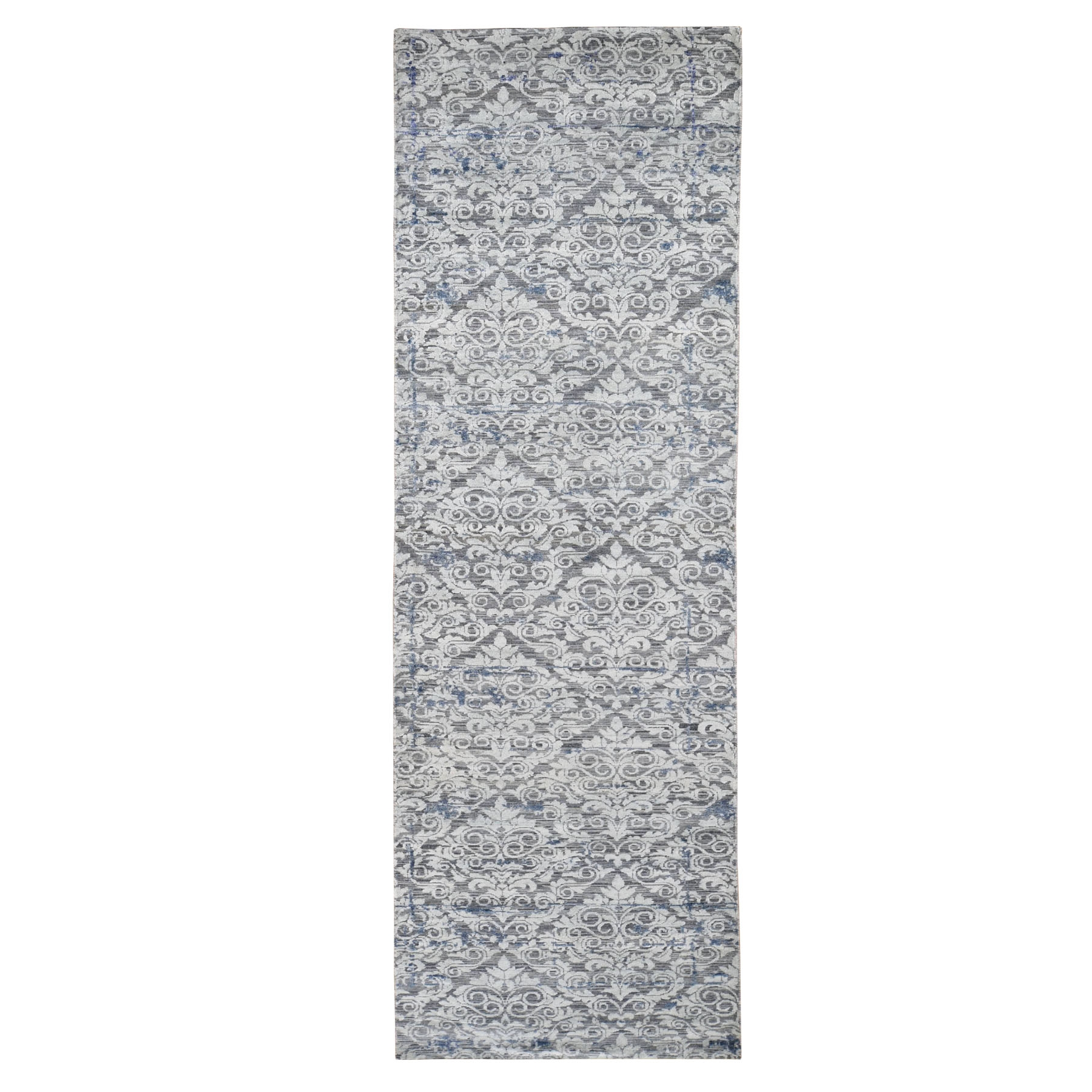 "3'x11'10"" Gray Silk With Textured Wool Trellis Garden Design Runner Hand Knotted Oriental Rug"