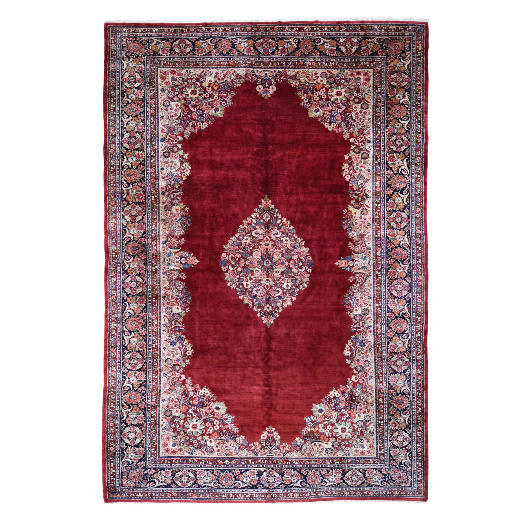 """10'2""""X17'3"""" Oversized Red Semi Antique Persian Sarouk Full Soft Pile Clean Open Field Hand Knotted Oriental Rug moad80b9"""