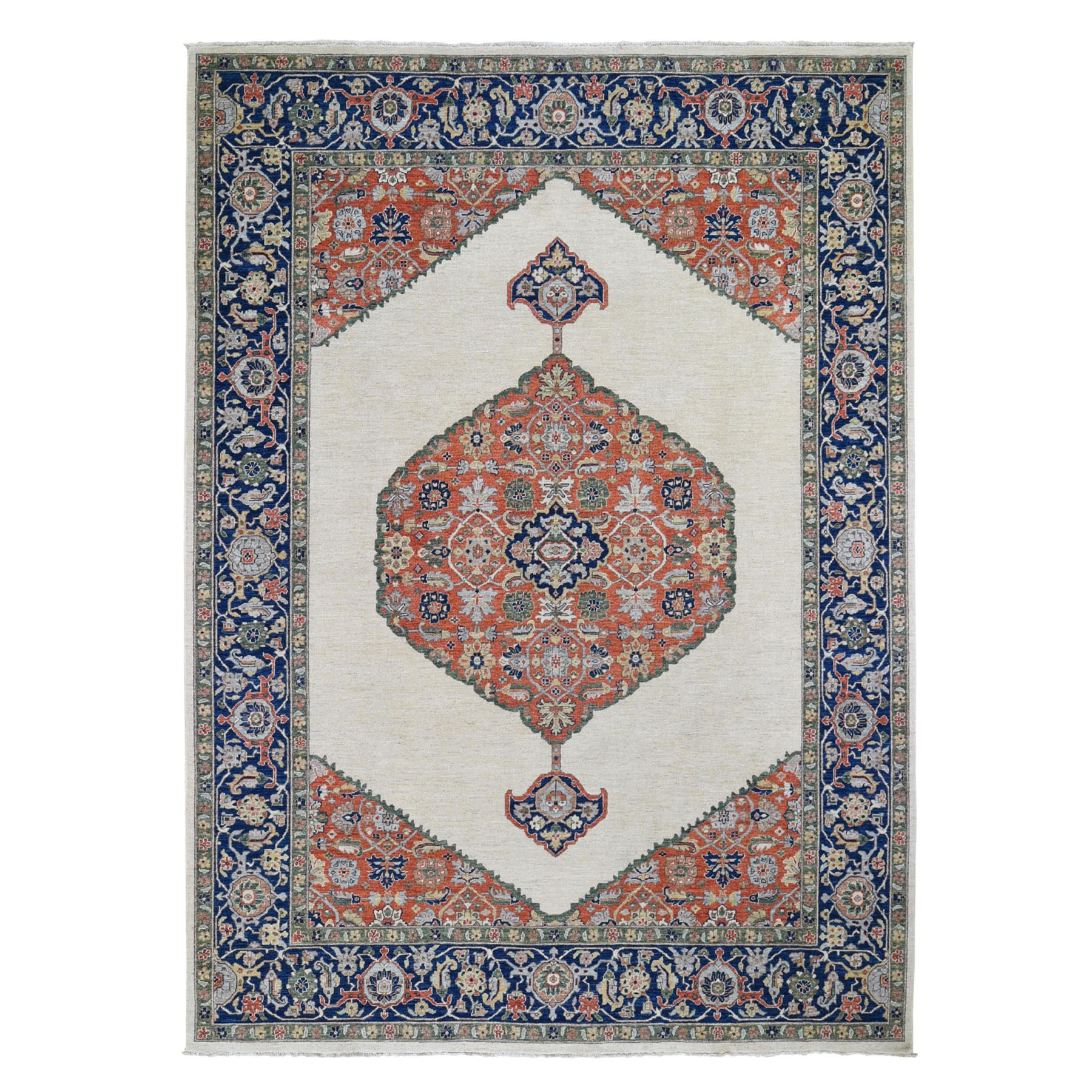 """8'10""""X12' Ivory Peshawar With Bijar Design Pure Wool Hand Knotted Oriental Rug moad80c0"""